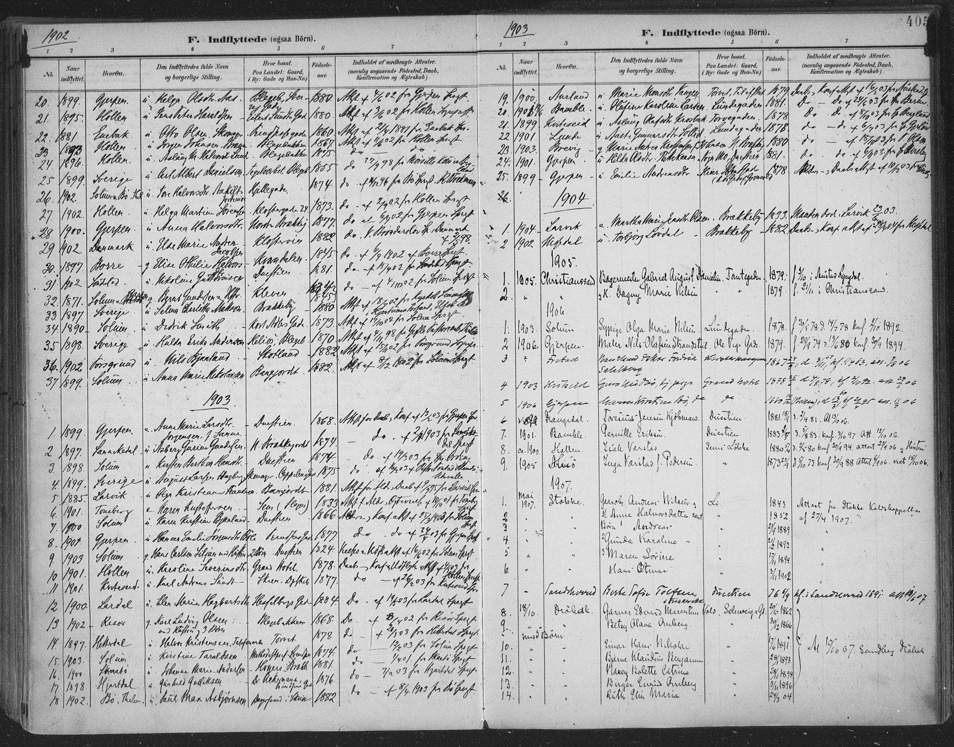 SAKO, Skien kirkebøker, F/Fa/L0011: Ministerialbok nr. 11, 1900-1907, s. 405