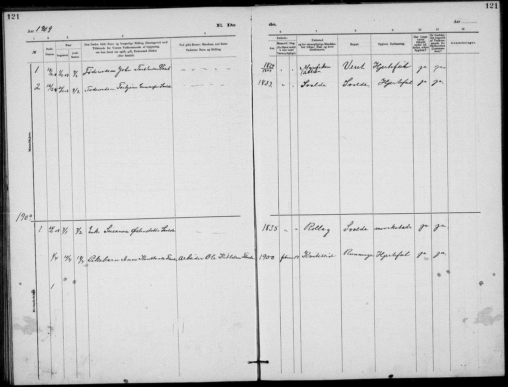 SAKO, Rjukan kirkebøker, G/Ga/L0001: Klokkerbok nr. 1, 1880-1914, s. 121