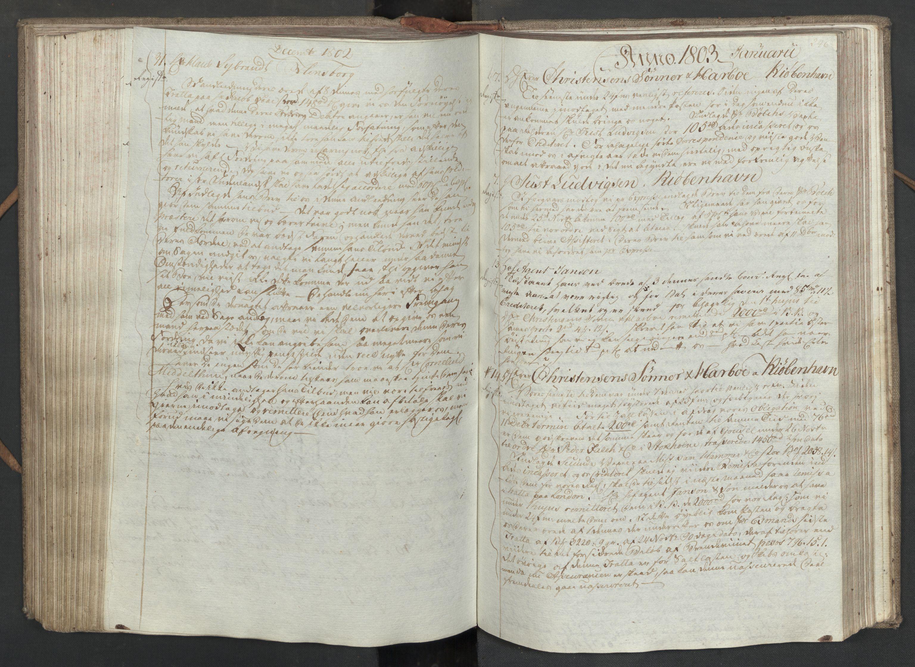 SAST, Pa 0003 - Ploug & Sundt, handelshuset, B/L0008: Kopibok, 1797-1804, s. 245b-246a