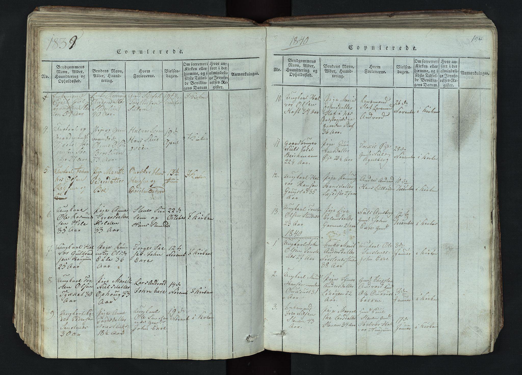SAH, Lom prestekontor, L/L0002: Klokkerbok nr. 2, 1815-1844, s. 194