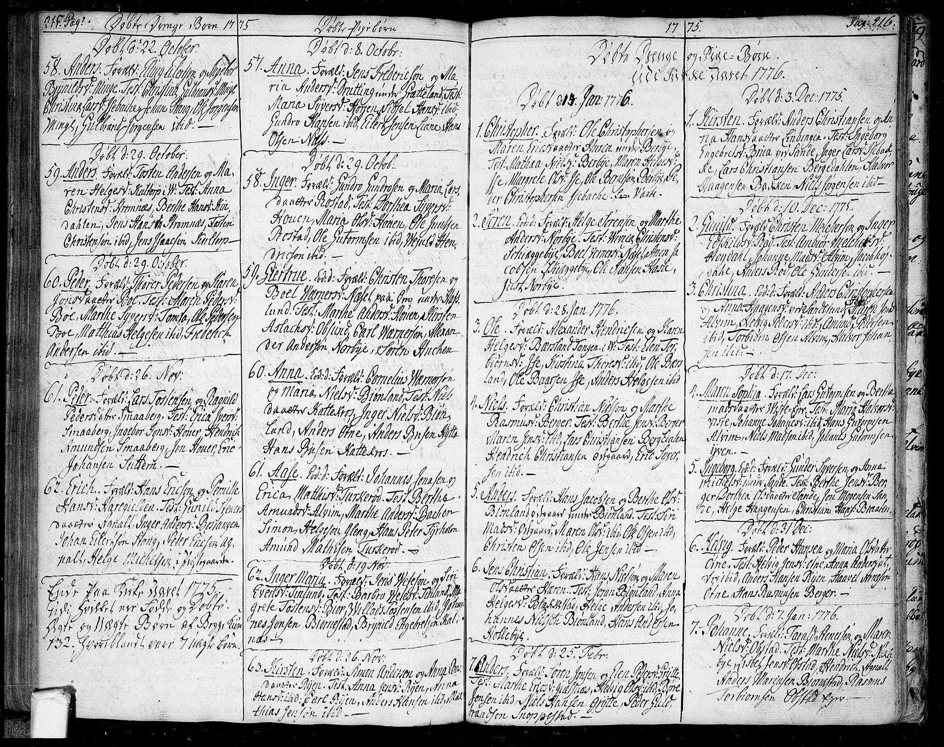SAO, Tune prestekontor Kirkebøker, F/Fa/L0002: Ministerialbok nr. 2, 1758-1781, s. 215-216