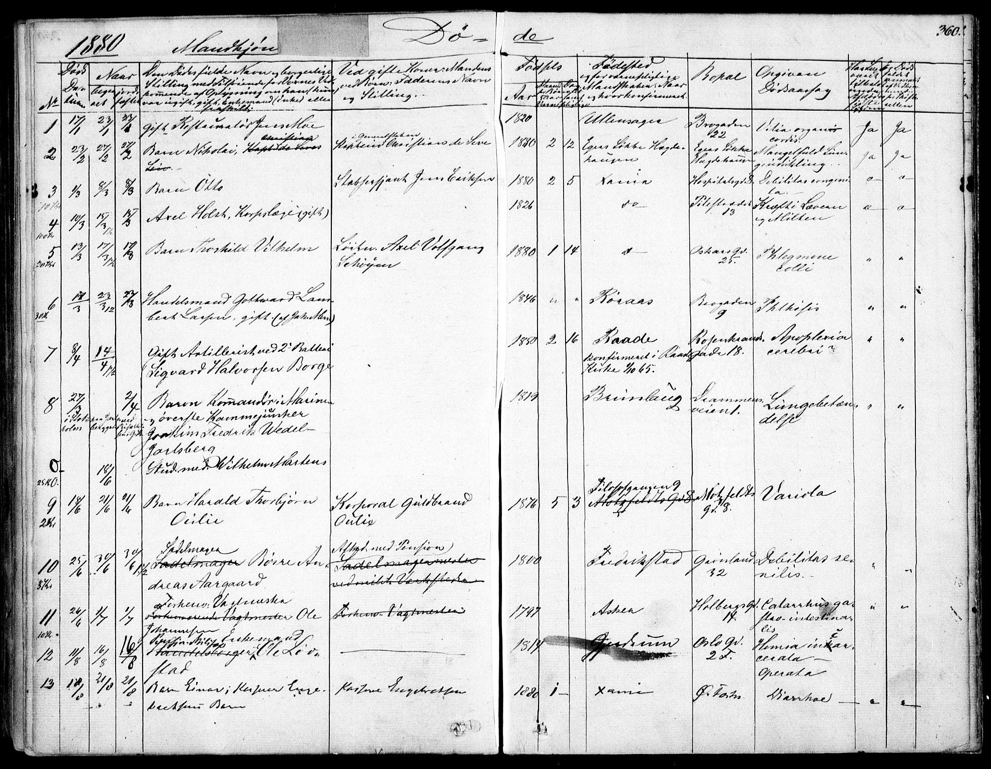 SAO, Garnisonsmenigheten Kirkebøker, F/Fa/L0007: Ministerialbok nr. 7, 1828-1881, s. 360
