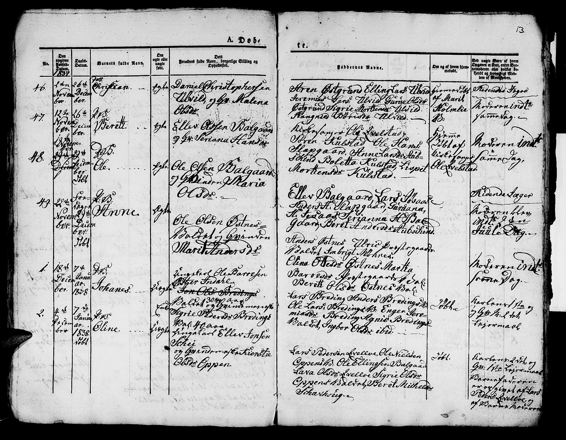 SAT, Ministerialprotokoller, klokkerbøker og fødselsregistre - Nord-Trøndelag, 724/L0266: Klokkerbok nr. 724C02, 1836-1843, s. 13