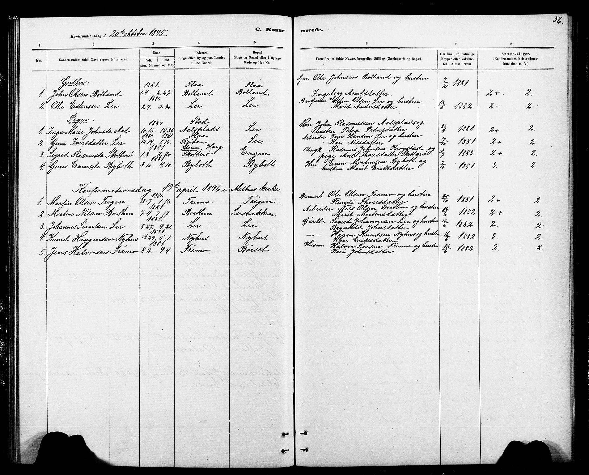 SAT, Ministerialprotokoller, klokkerbøker og fødselsregistre - Sør-Trøndelag, 693/L1123: Klokkerbok nr. 693C04, 1887-1910, s. 56
