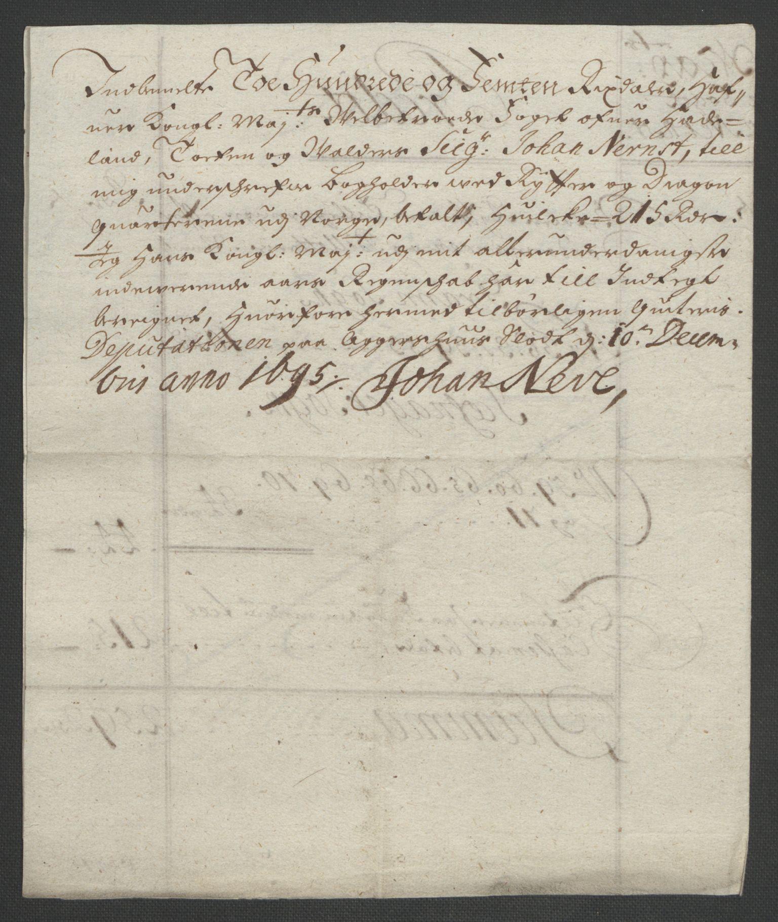 RA, Rentekammeret inntil 1814, Reviderte regnskaper, Fogderegnskap, R18/L1293: Fogderegnskap Hadeland, Toten og Valdres, 1695, s. 153