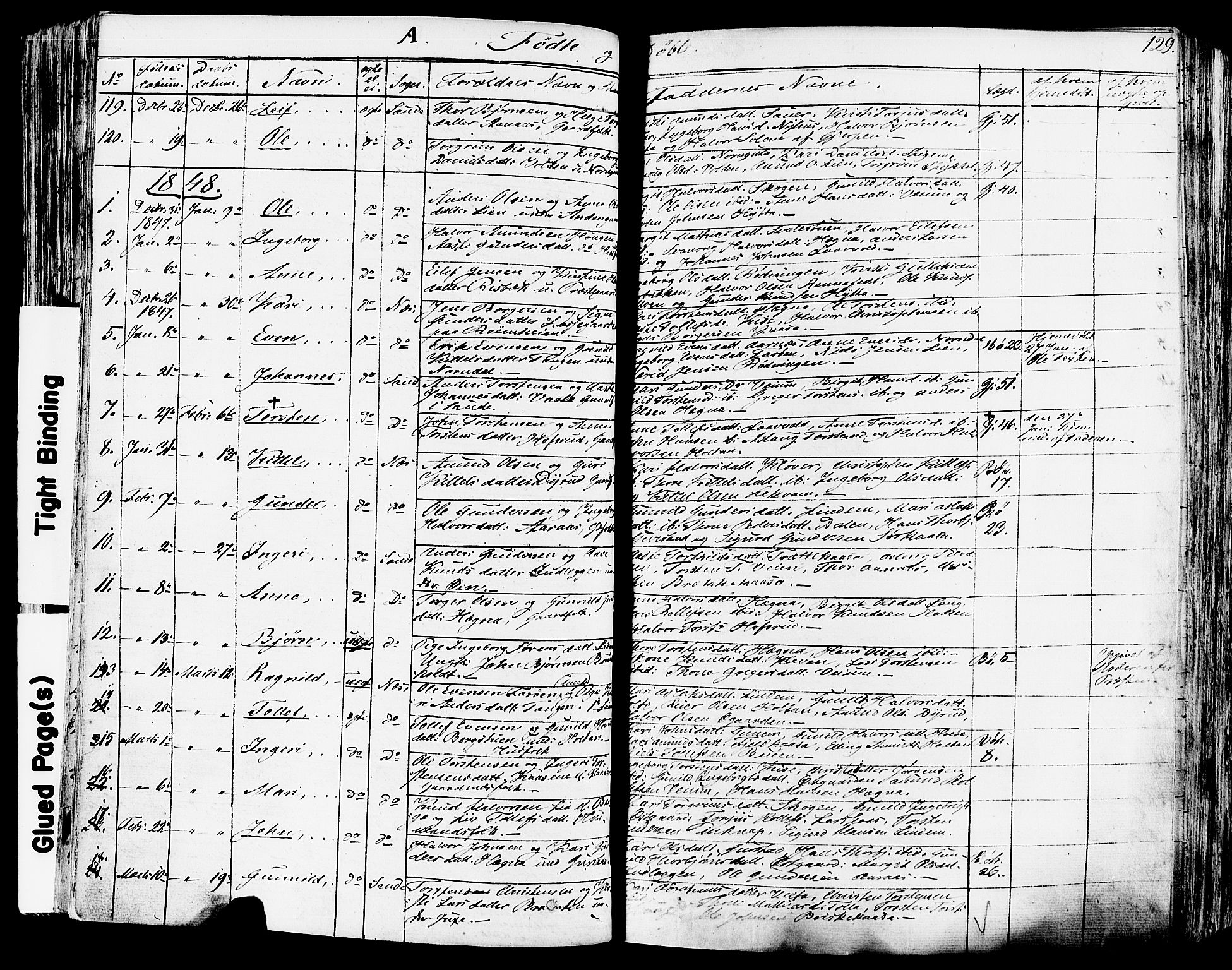 SAKO, Sauherad kirkebøker, F/Fa/L0006: Ministerialbok nr. I 6, 1827-1850, s. 129