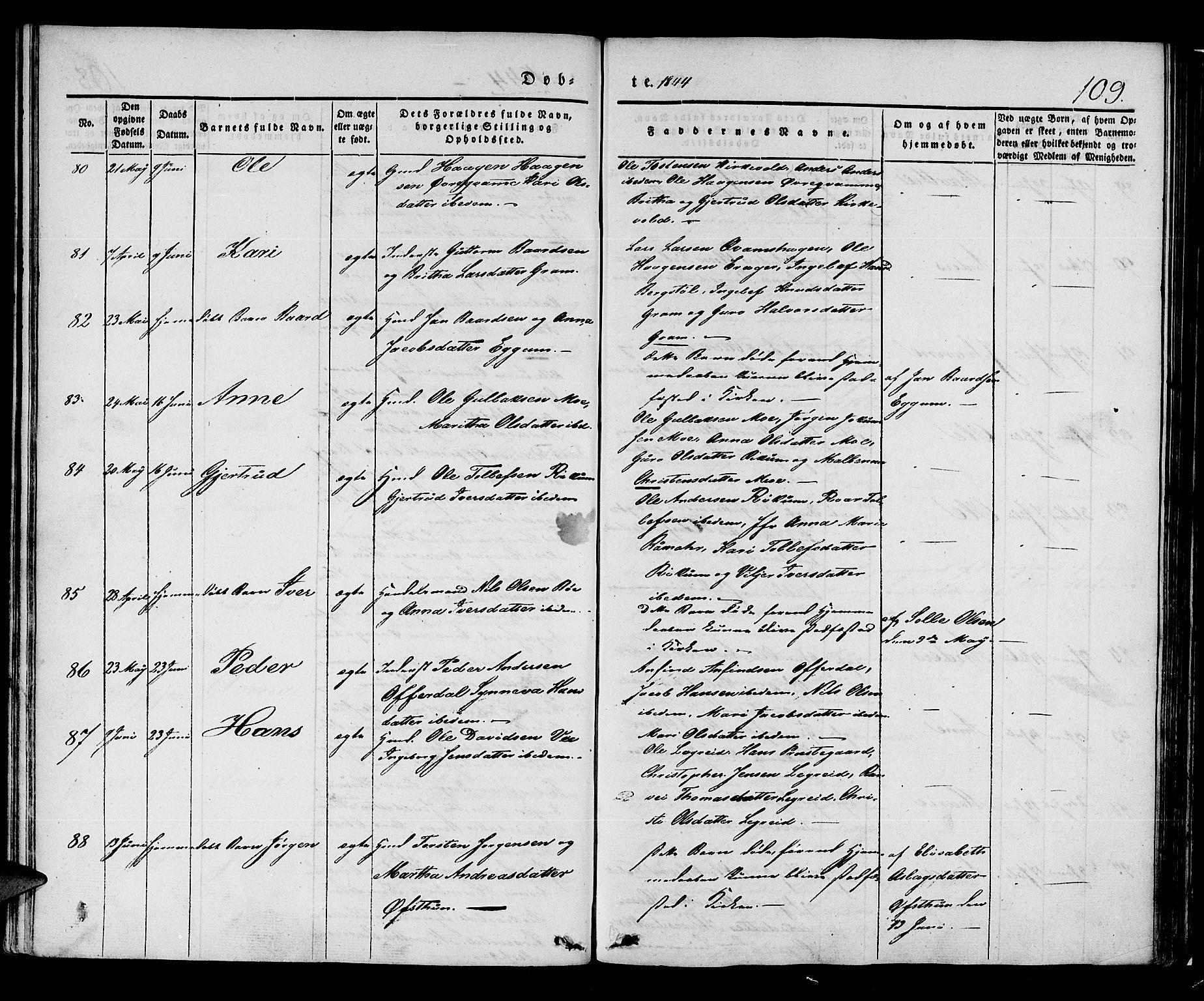 SAB, Lærdal Sokneprestembete, Ministerialbok nr. A 6, 1835-1849, s. 109