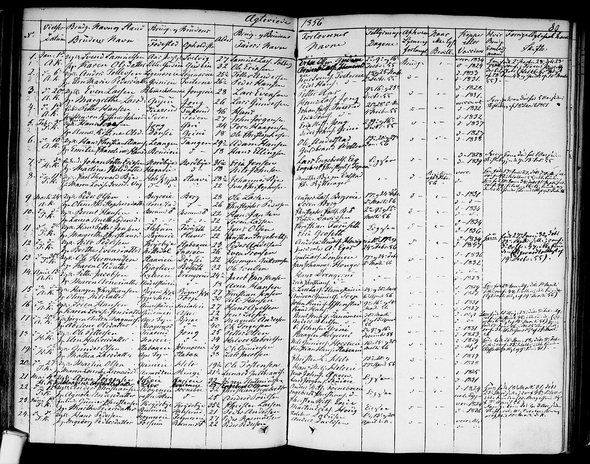 SAO, Asker prestekontor Kirkebøker, F/Fa/L0010: Ministerialbok nr. I 10, 1825-1878, s. 89