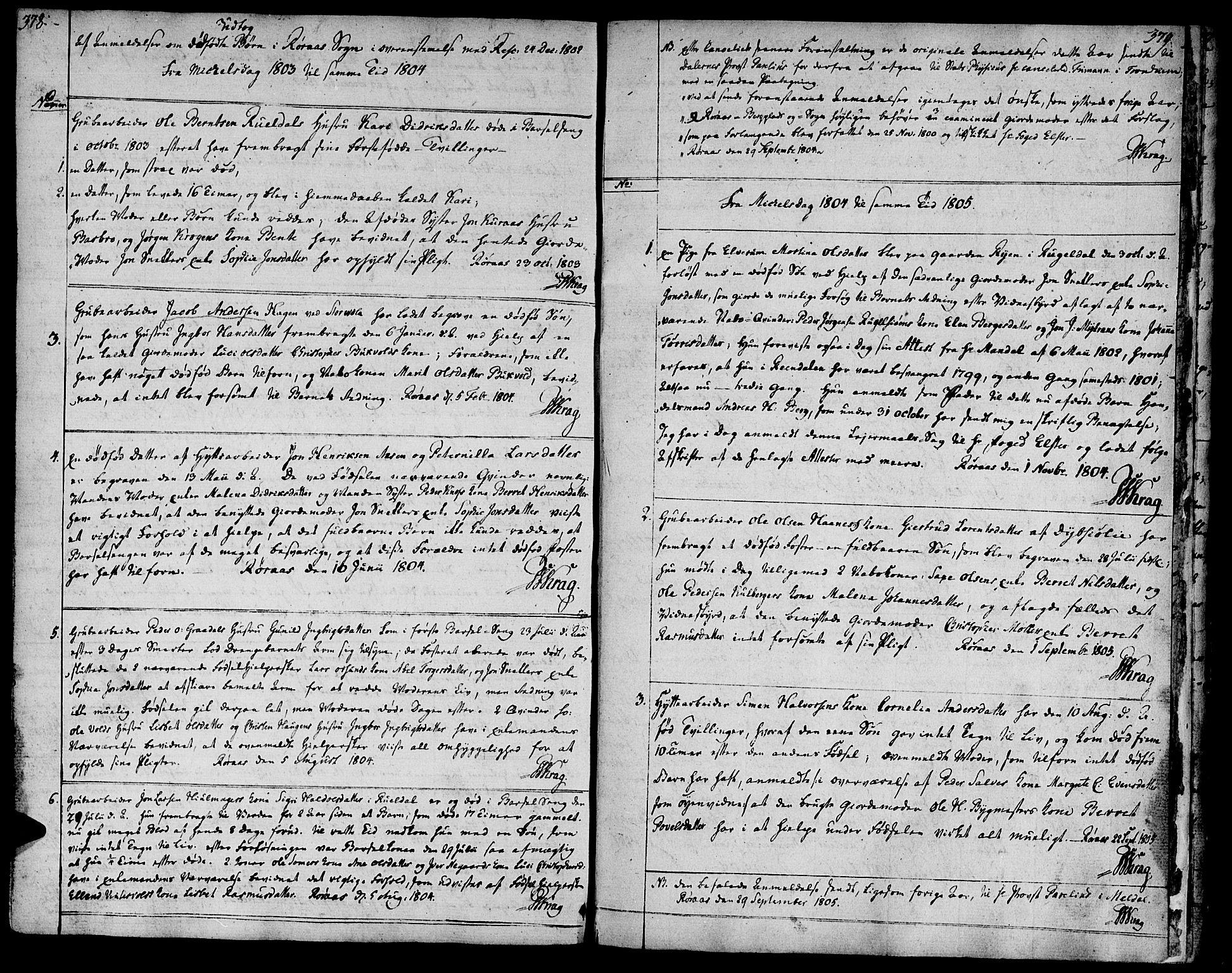 SAT, Ministerialprotokoller, klokkerbøker og fødselsregistre - Sør-Trøndelag, 681/L0927: Ministerialbok nr. 681A05, 1798-1808, s. 378-379