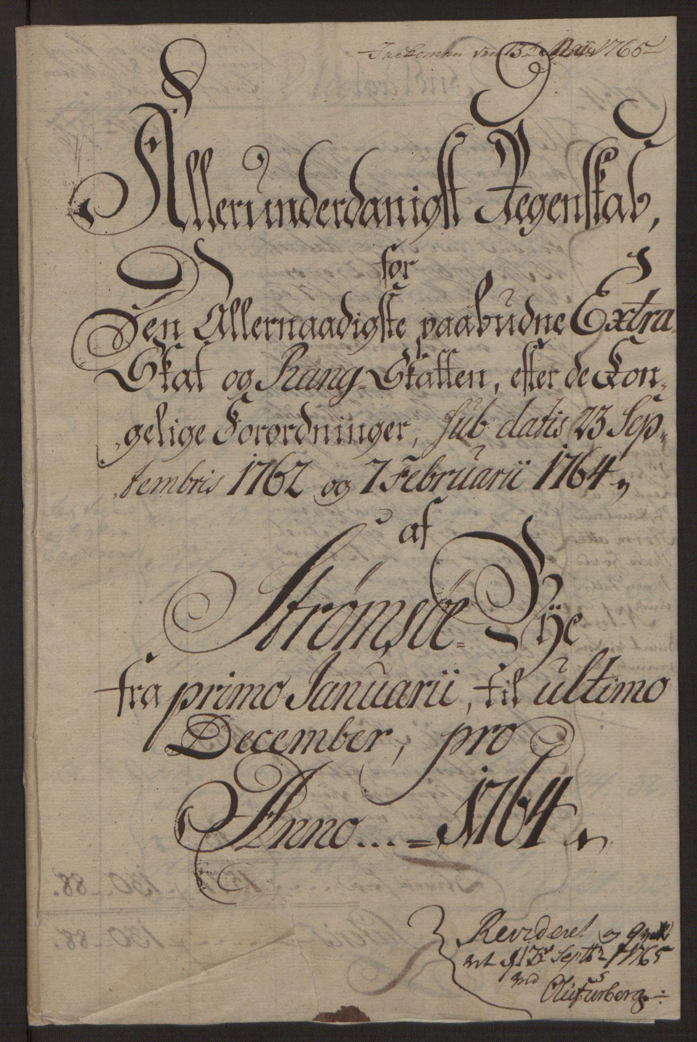 RA, Rentekammeret inntil 1814, Reviderte regnskaper, Byregnskaper, R/Rg/L0144: [G4] Kontribusjonsregnskap, 1762-1767, s. 190