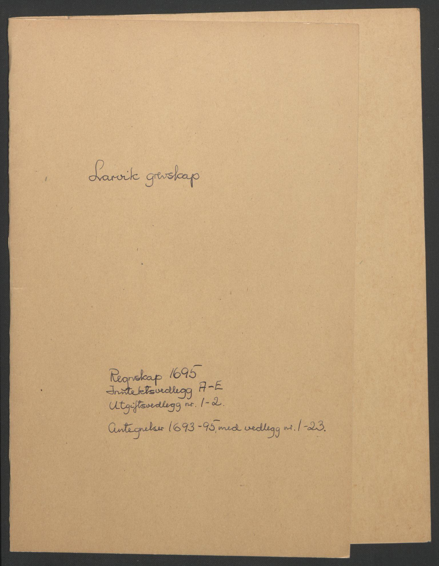 RA, Rentekammeret inntil 1814, Reviderte regnskaper, Fogderegnskap, R33/L1974: Fogderegnskap Larvik grevskap, 1693-1695, s. 187