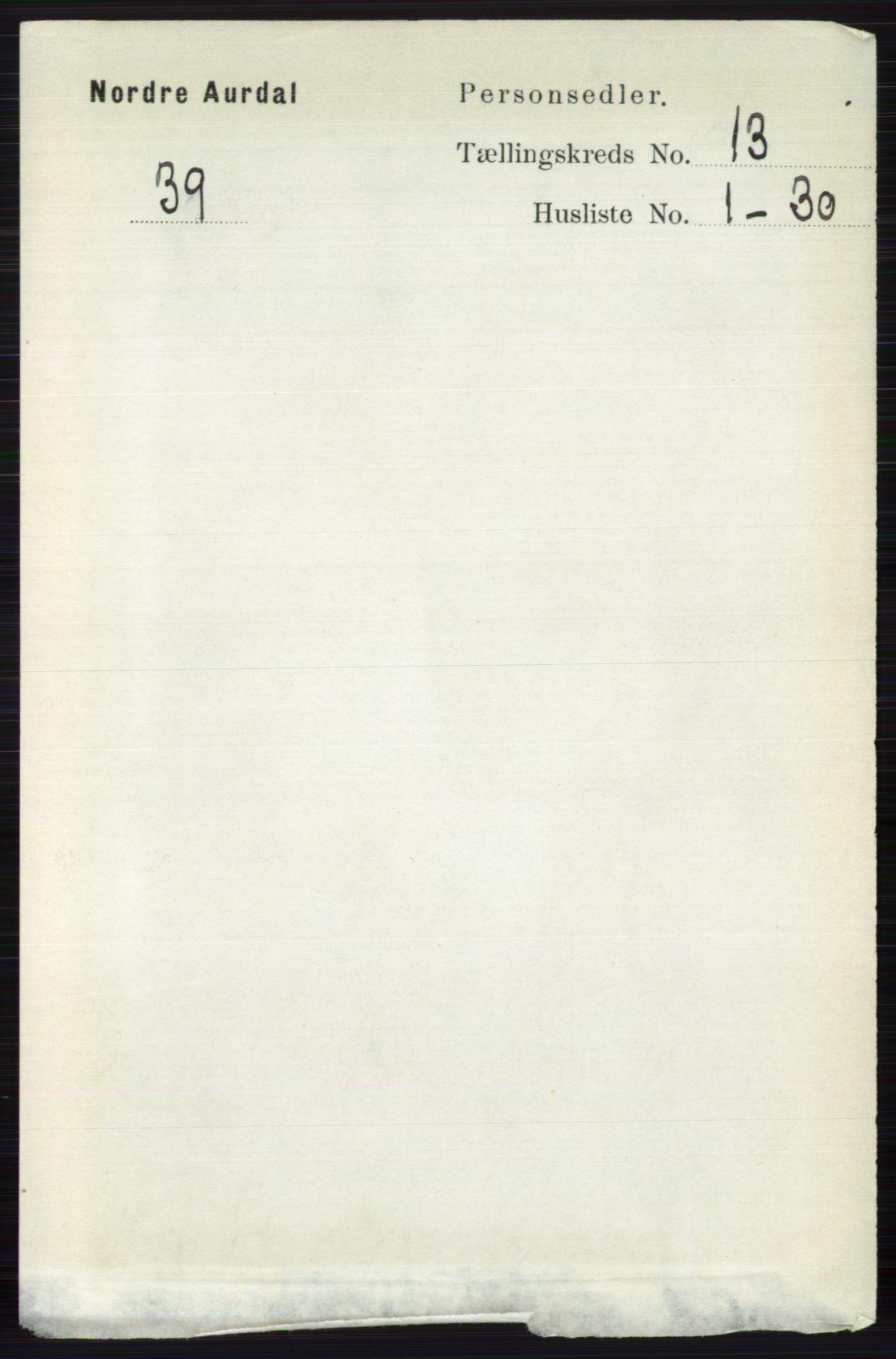 RA, Folketelling 1891 for 0542 Nord-Aurdal herred, 1891, s. 4760