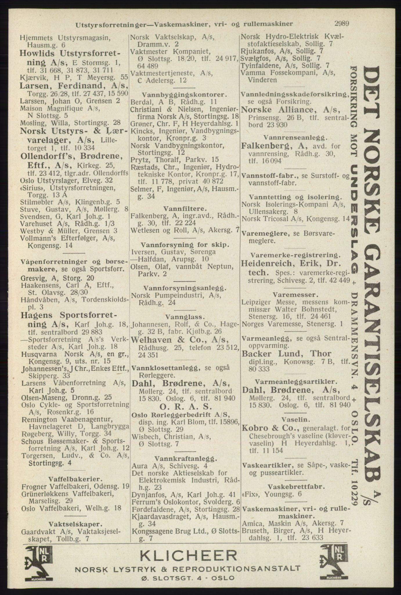 RA, Oslo adressebok (publikasjon)*, 1940, s. 2989