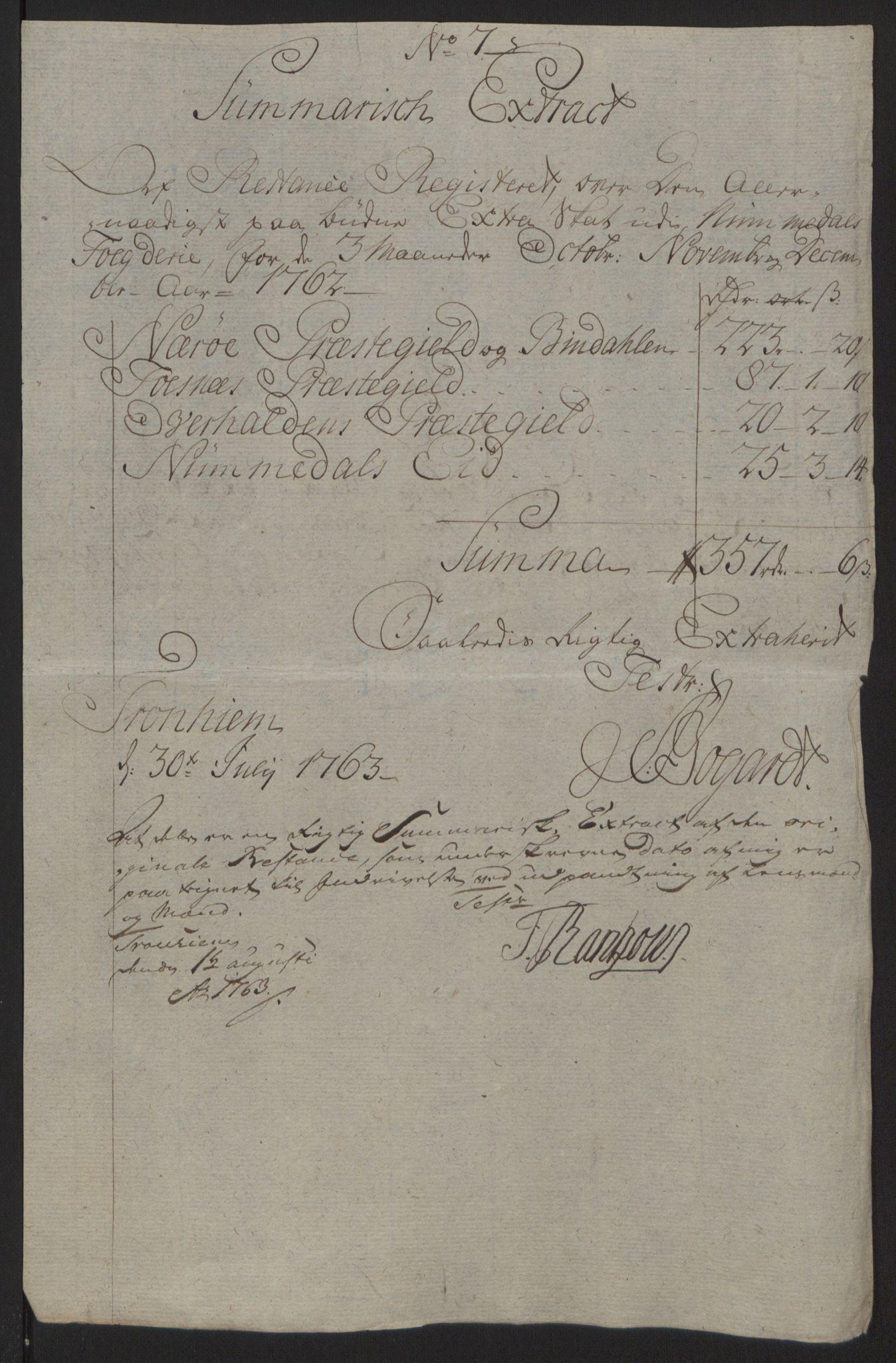 RA, Rentekammeret inntil 1814, Reviderte regnskaper, Fogderegnskap, R64/L4502: Ekstraskatten Namdal, 1762-1772, s. 52