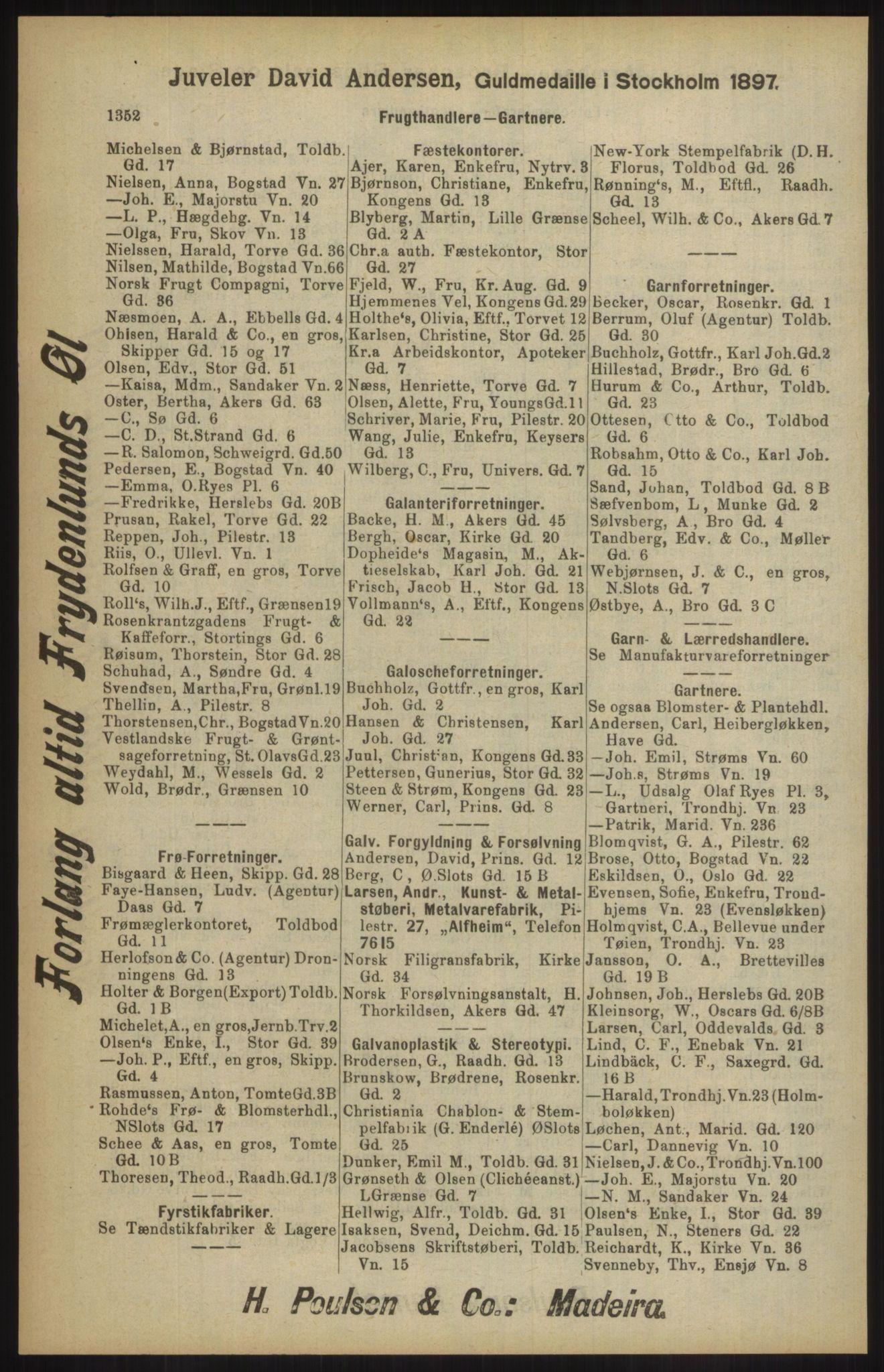RA, Kristiania adressebok (publikasjon)*, 1904, s. 1352