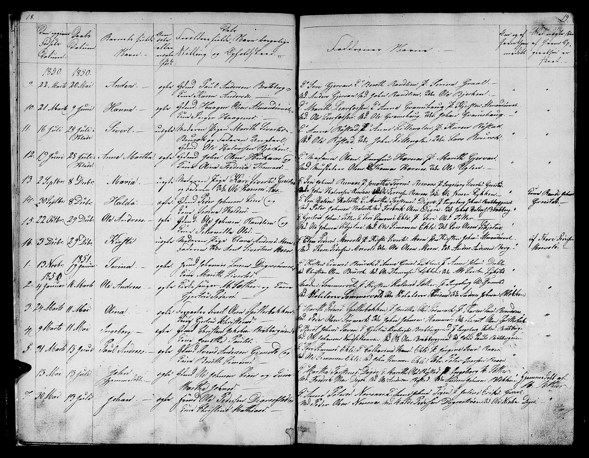 SAT, Ministerialprotokoller, klokkerbøker og fødselsregistre - Sør-Trøndelag, 608/L0339: Klokkerbok nr. 608C05, 1844-1863, s. 18-19