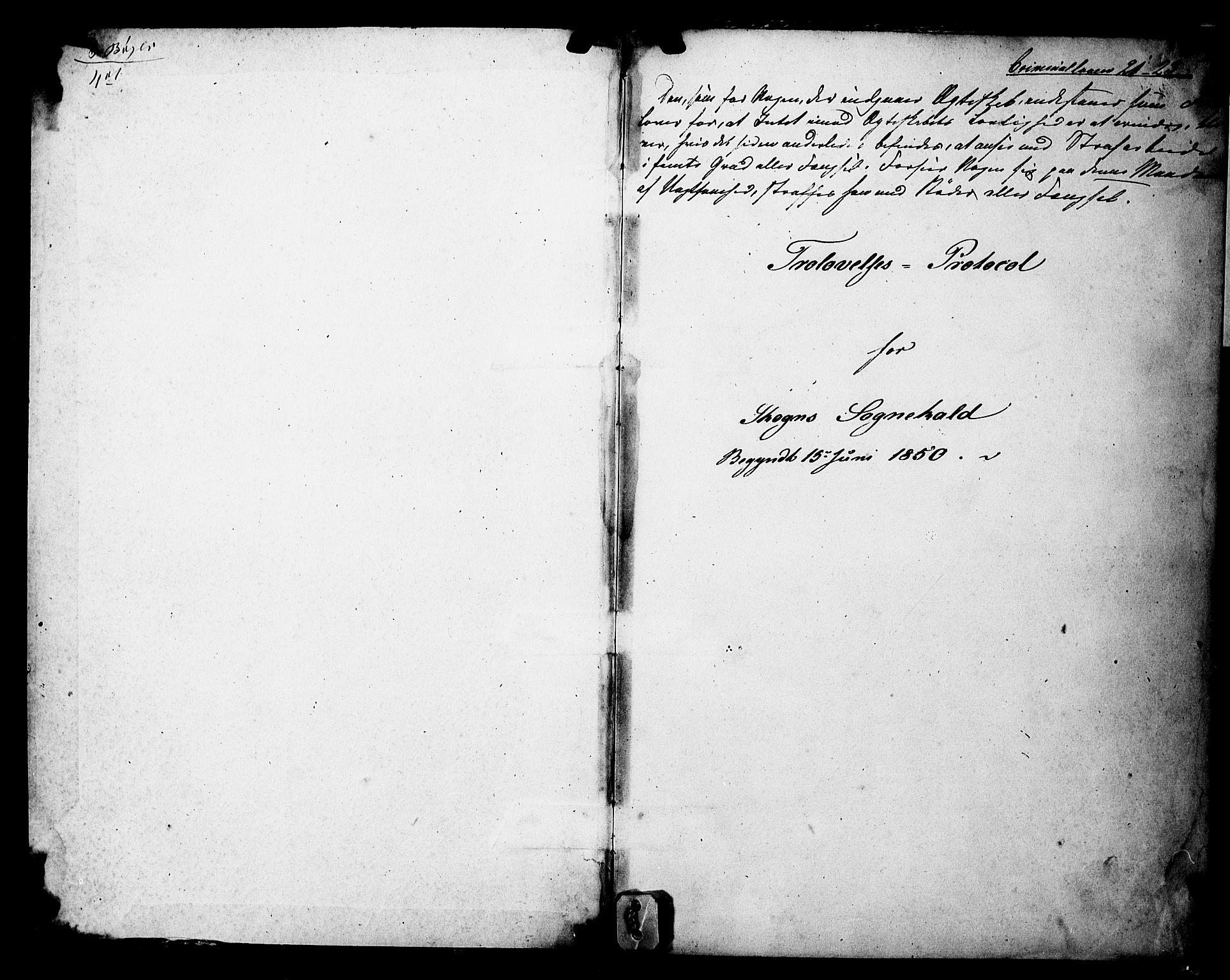 SAT, Ministerialprotokoller, klokkerbøker og fødselsregistre - Nord-Trøndelag, 717/L0161: Forlovererklæringer nr. 717A11, 1850-1895, s. 1