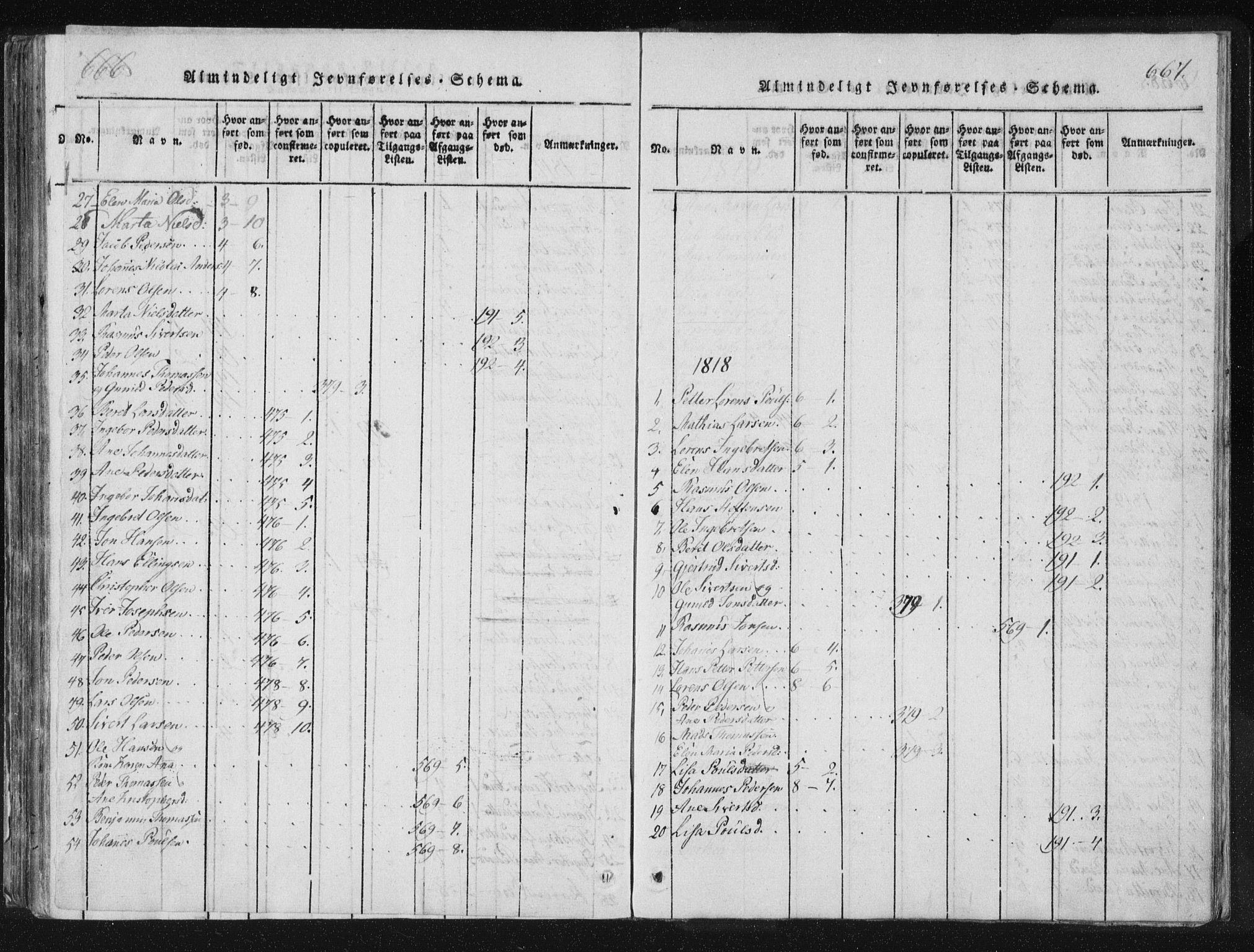 SAT, Ministerialprotokoller, klokkerbøker og fødselsregistre - Nord-Trøndelag, 744/L0417: Ministerialbok nr. 744A01, 1817-1842, s. 666-667