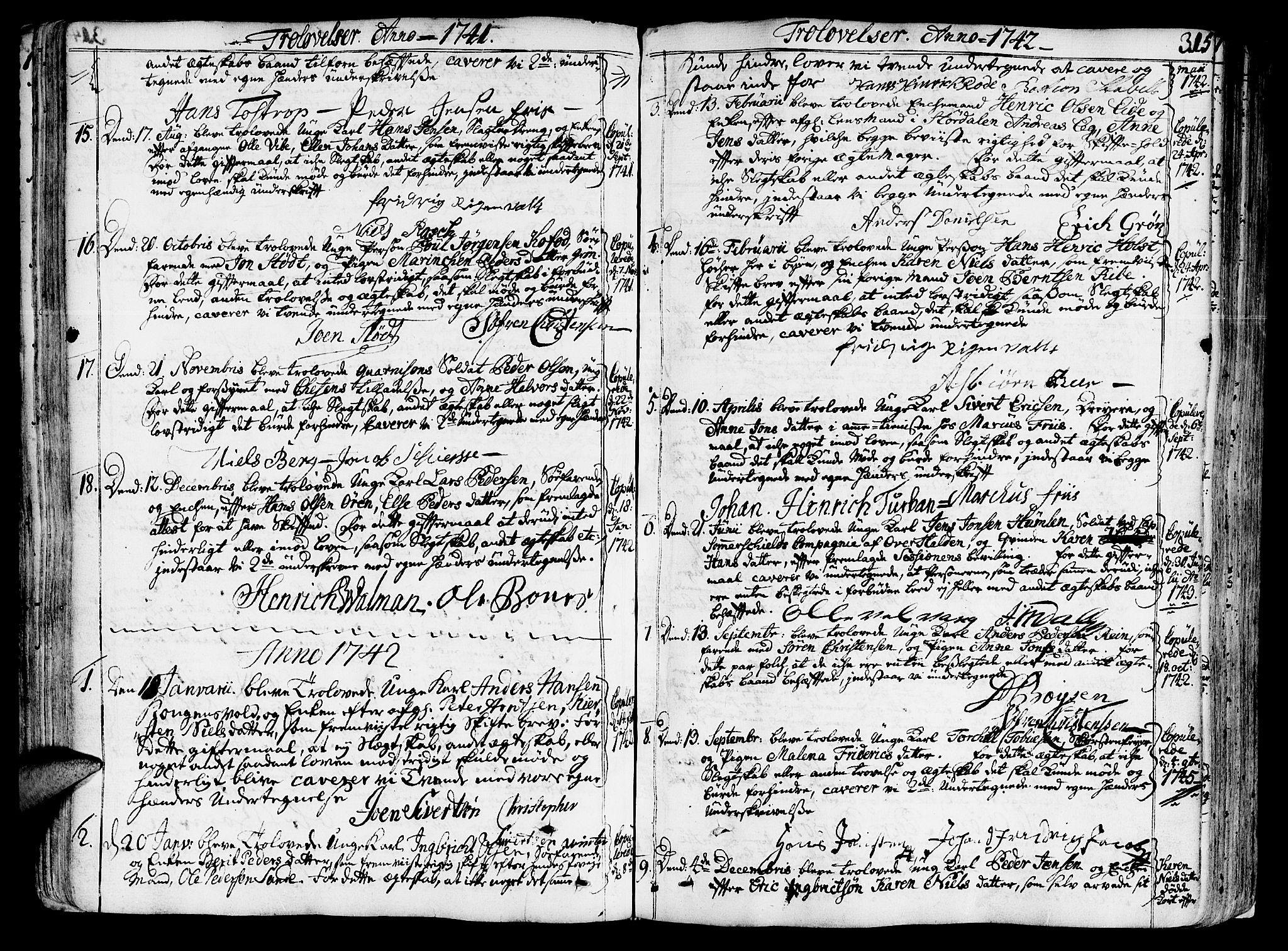 SAT, Ministerialprotokoller, klokkerbøker og fødselsregistre - Sør-Trøndelag, 602/L0103: Ministerialbok nr. 602A01, 1732-1774, s. 315