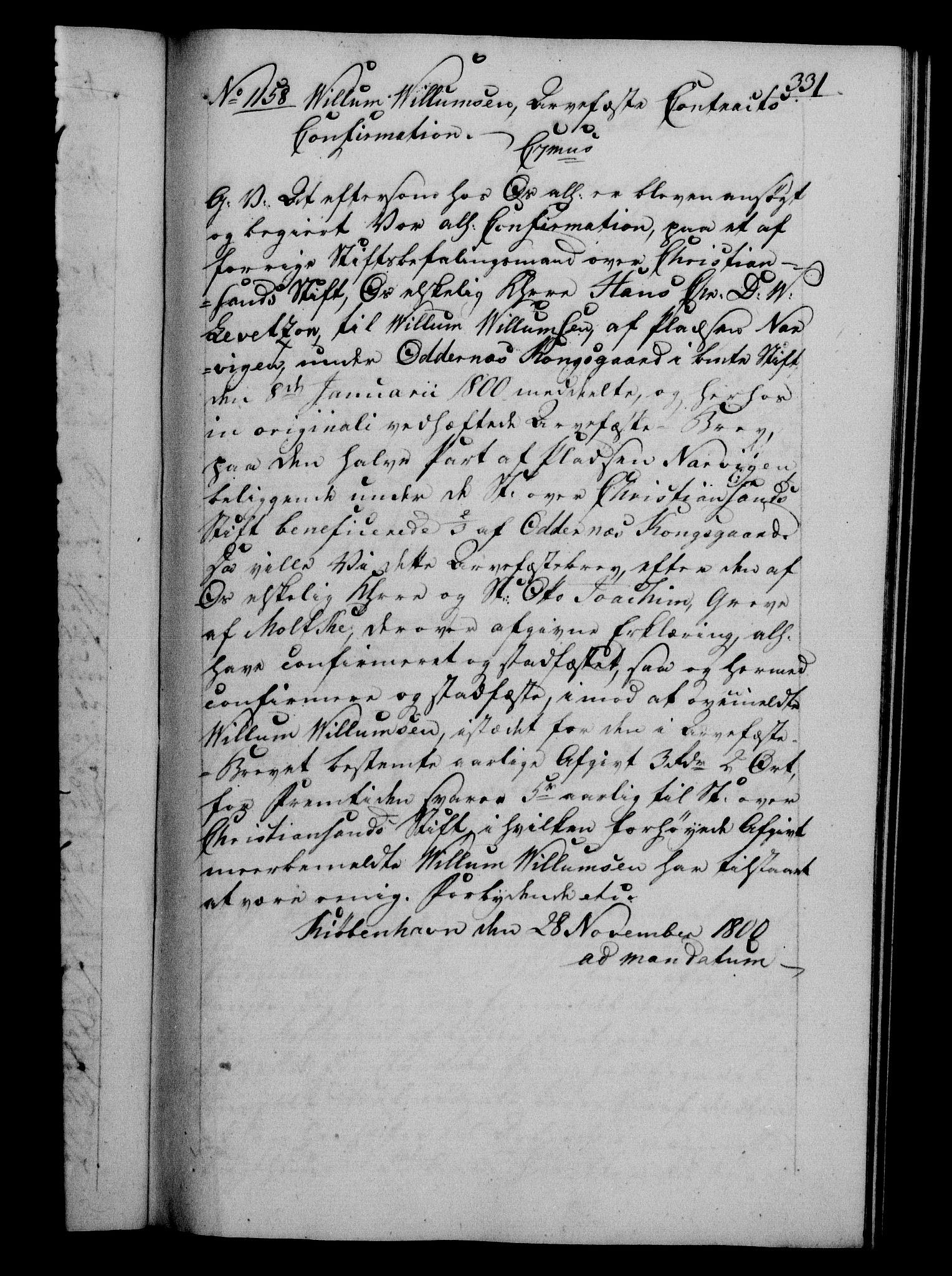RA, Danske Kanselli 1800-1814, H/Hf/Hfb/Hfba/L0001: Registranter, 1800-1801, s. 331a