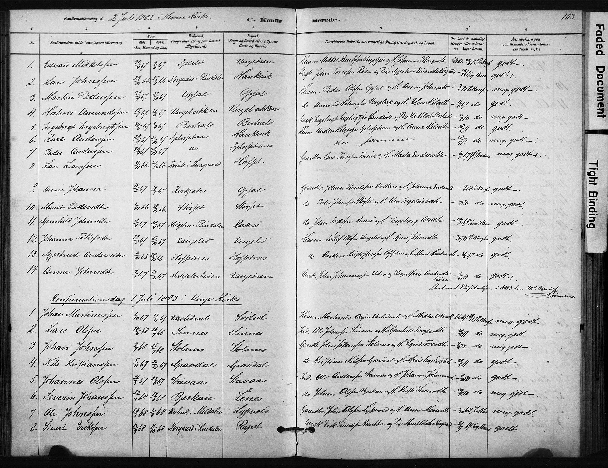 SAT, Ministerialprotokoller, klokkerbøker og fødselsregistre - Sør-Trøndelag, 631/L0512: Ministerialbok nr. 631A01, 1879-1912, s. 103