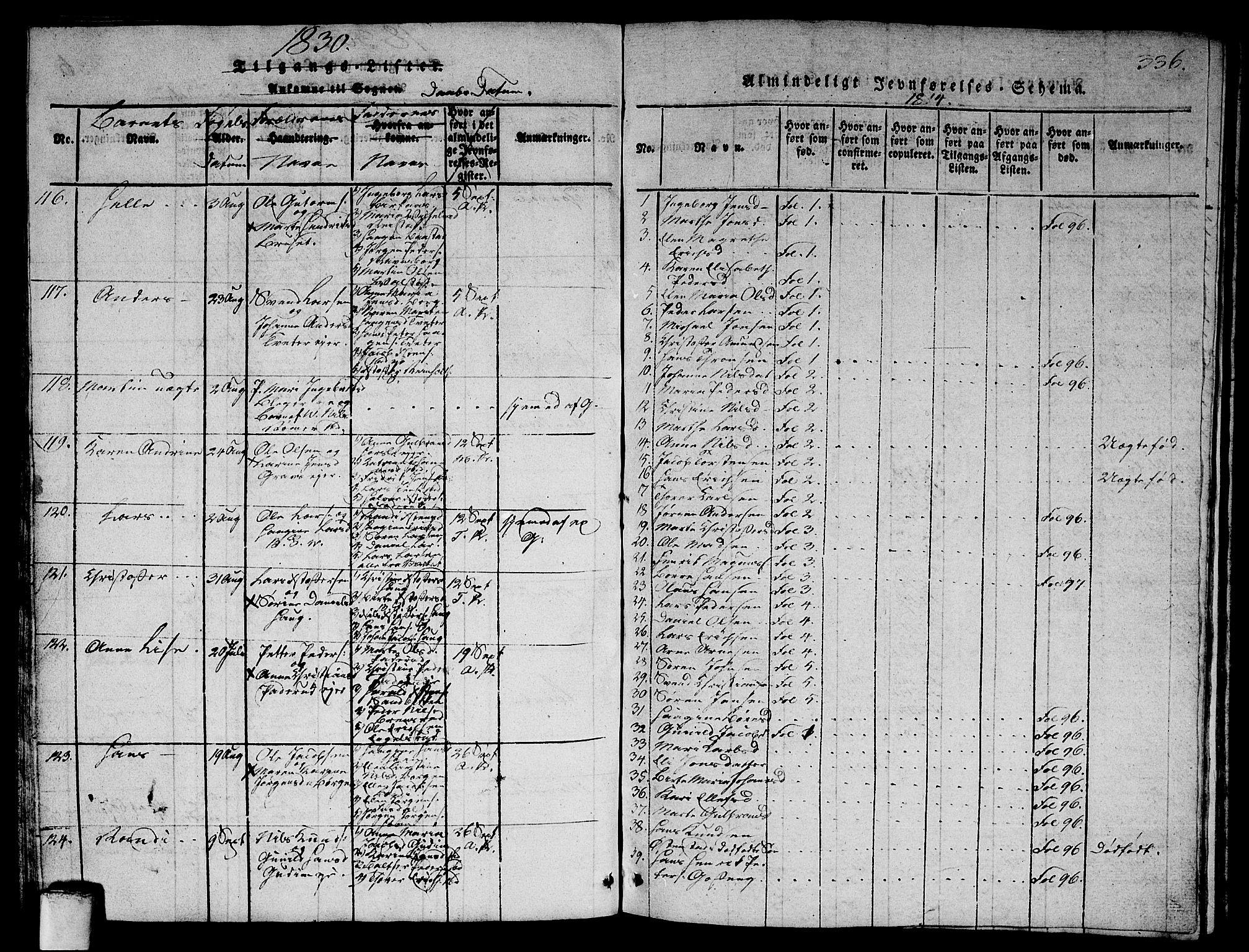 SAO, Asker prestekontor Kirkebøker, G/Ga/L0001: Klokkerbok nr. I 1, 1814-1830, s. 336
