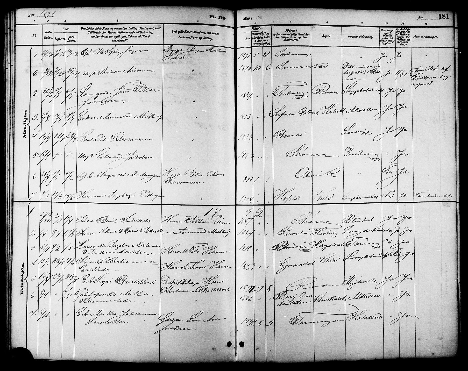 SAT, Ministerialprotokoller, klokkerbøker og fødselsregistre - Sør-Trøndelag, 657/L0716: Klokkerbok nr. 657C03, 1889-1904, s. 181