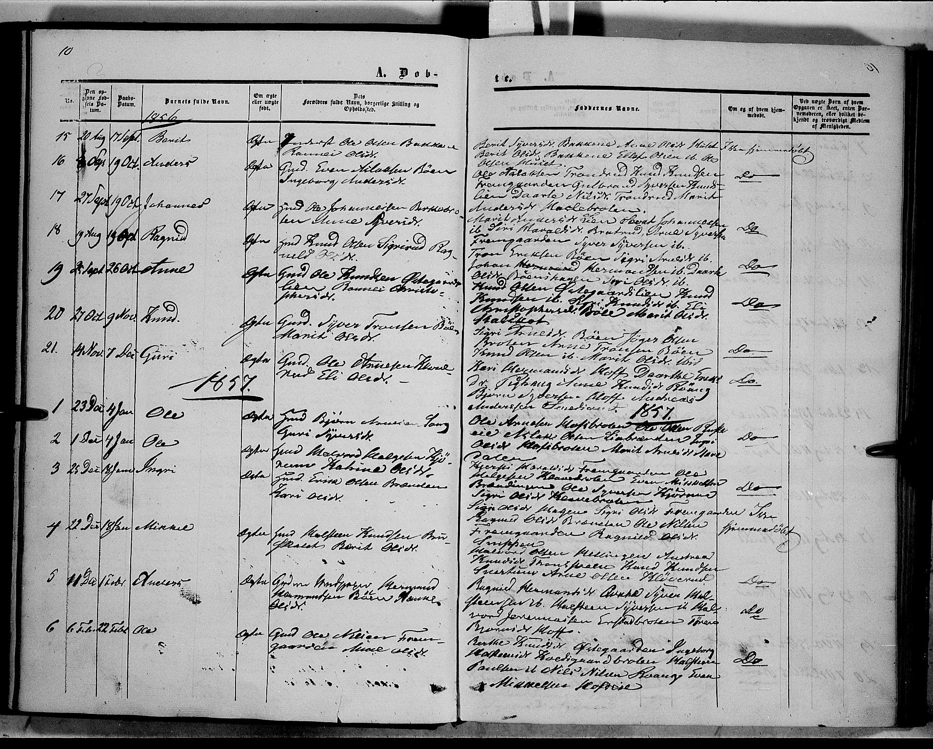 SAH, Sør-Aurdal prestekontor, Ministerialbok nr. 6, 1849-1876, s. 10