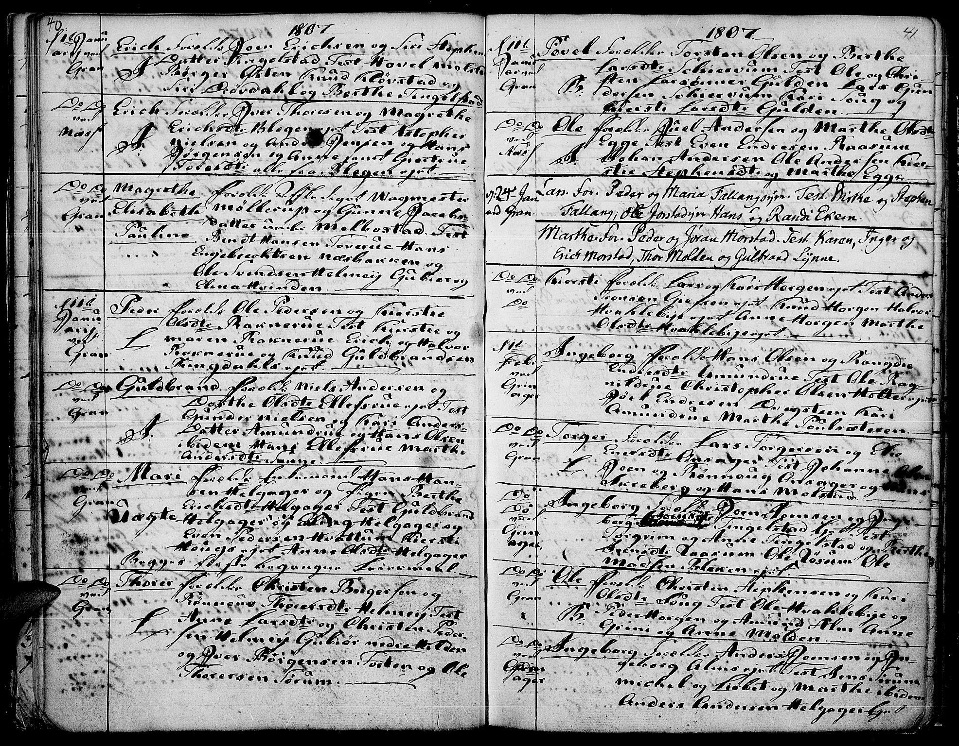 SAH, Gran prestekontor, Ministerialbok nr. 7, 1804-1815, s. 40-41