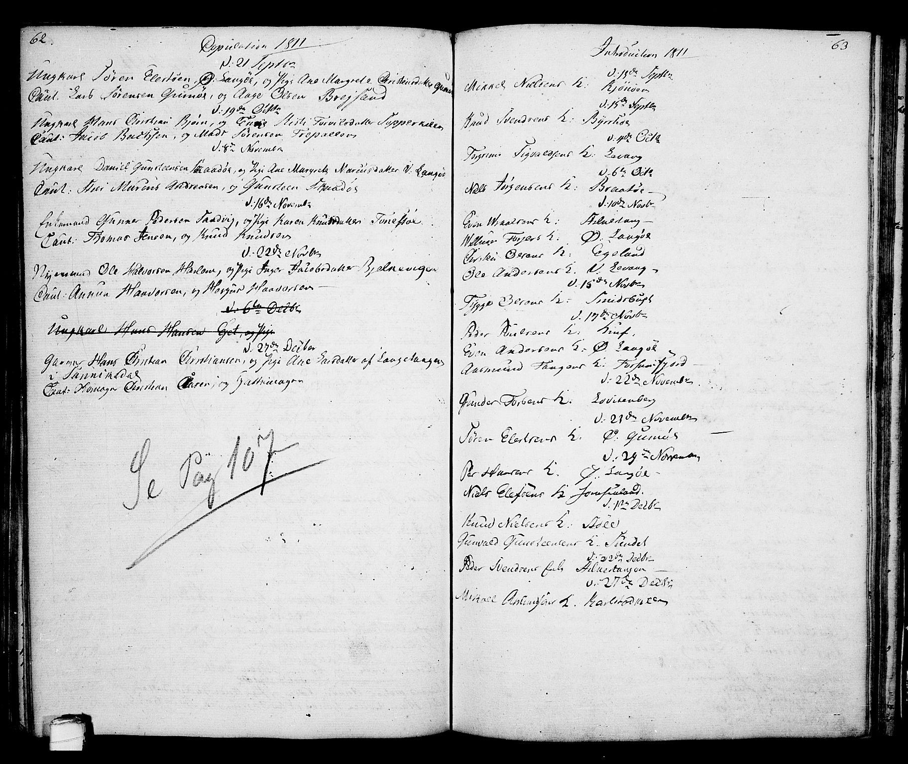 SAKO, Kragerø kirkebøker, G/Ga/L0001: Klokkerbok nr. 1 /2, 1806-1811, s. 62-63