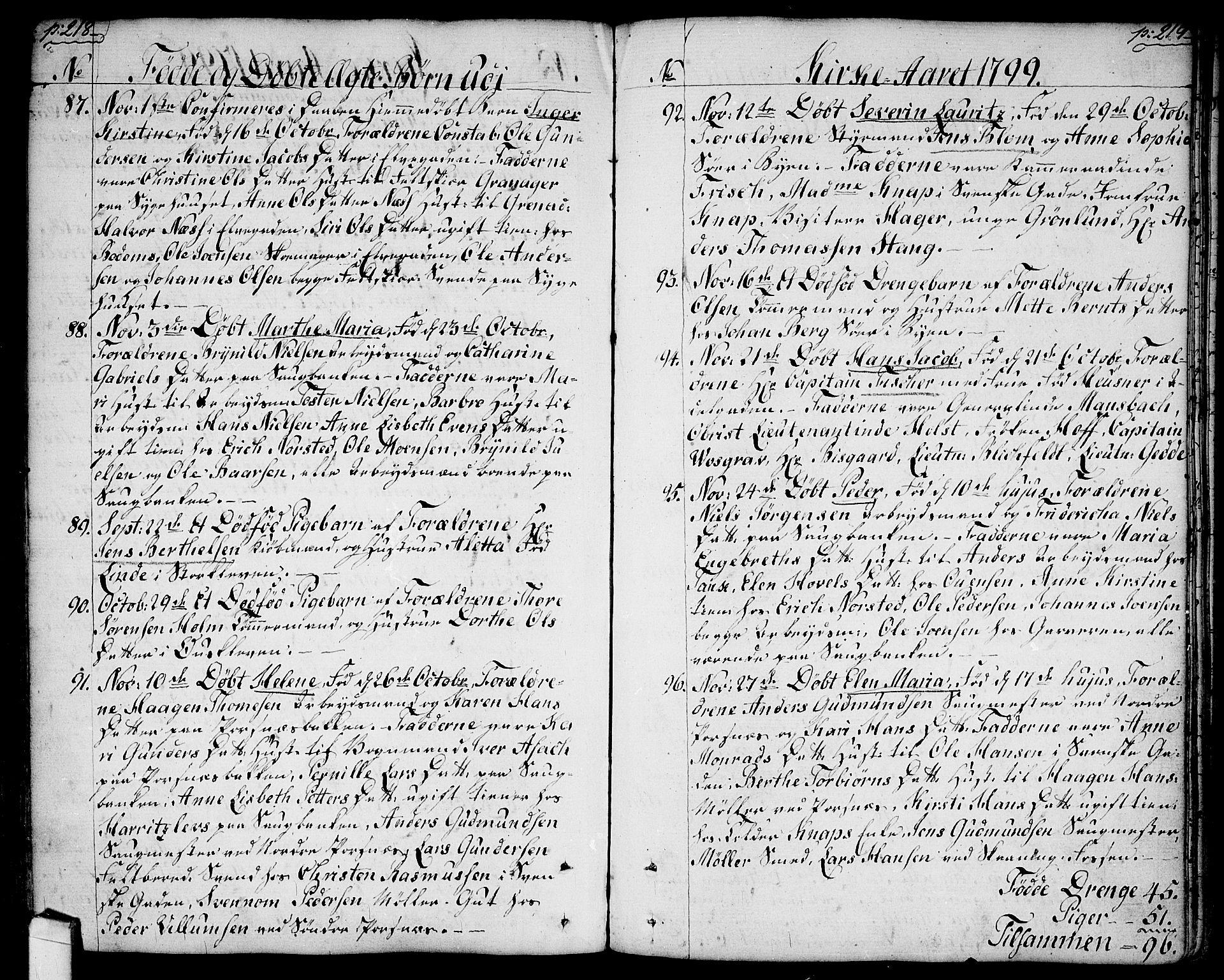 SAO, Halden prestekontor Kirkebøker, F/Fa/L0002: Ministerialbok nr. I 2, 1792-1812, s. 218-219