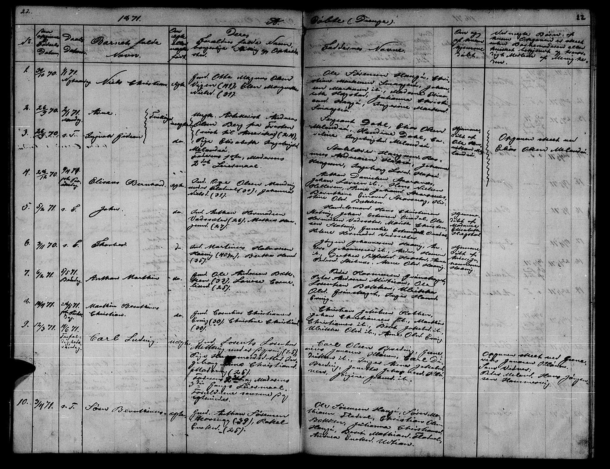 SAT, Ministerialprotokoller, klokkerbøker og fødselsregistre - Sør-Trøndelag, 634/L0539: Klokkerbok nr. 634C01, 1866-1873, s. 22