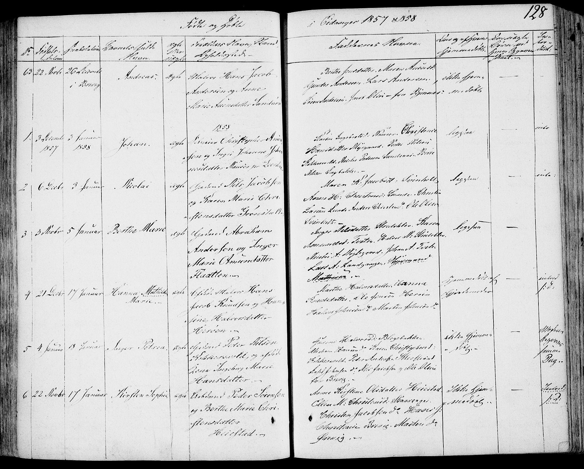 SAKO, Eidanger kirkebøker, F/Fa/L0008: Ministerialbok nr. 8, 1831-1858, s. 128