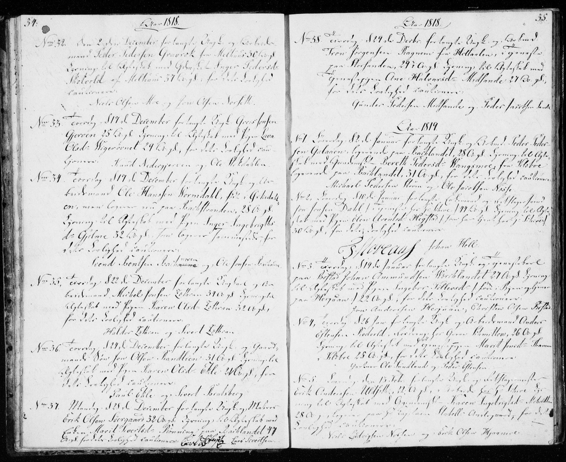 SAT, Ministerialprotokoller, klokkerbøker og fødselsregistre - Sør-Trøndelag, 606/L0295: Lysningsprotokoll nr. 606A10, 1815-1833, s. 34-35