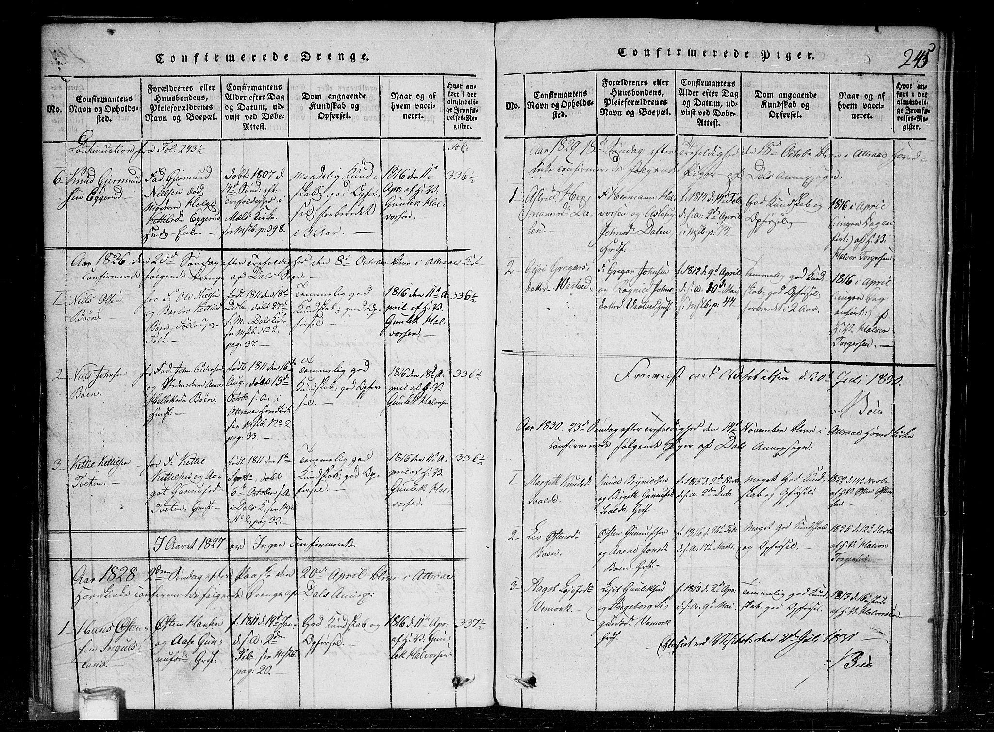 SAKO, Tinn kirkebøker, G/Gc/L0001: Klokkerbok nr. III 1, 1815-1879, s. 245