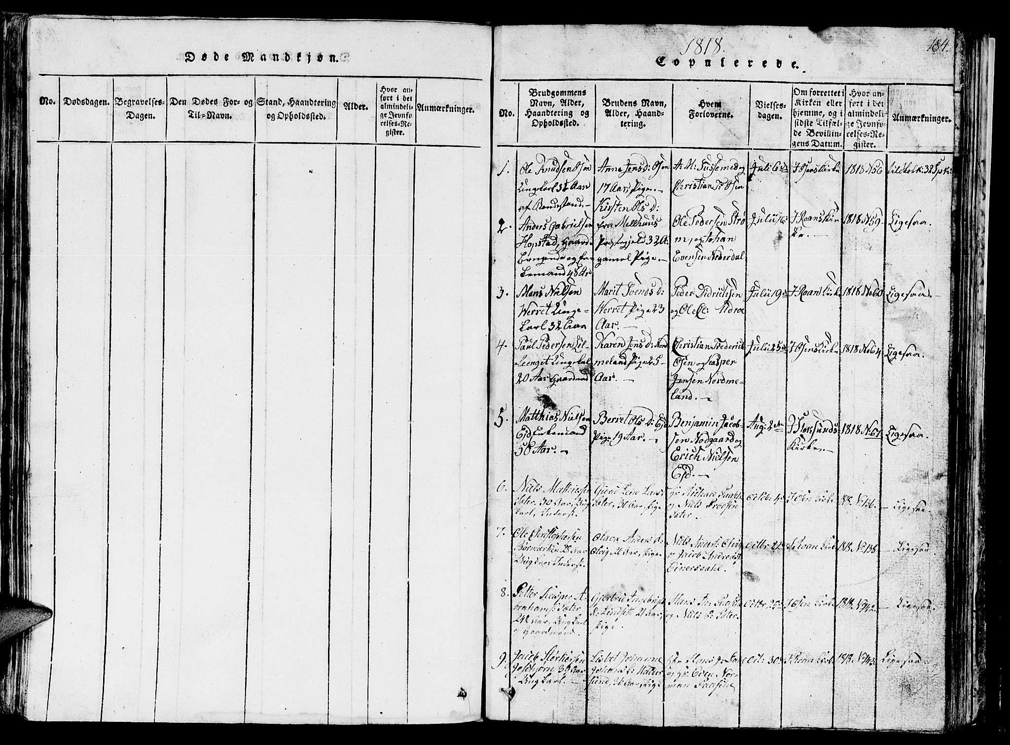 SAT, Ministerialprotokoller, klokkerbøker og fødselsregistre - Sør-Trøndelag, 657/L0714: Klokkerbok nr. 657C01, 1818-1868, s. 184