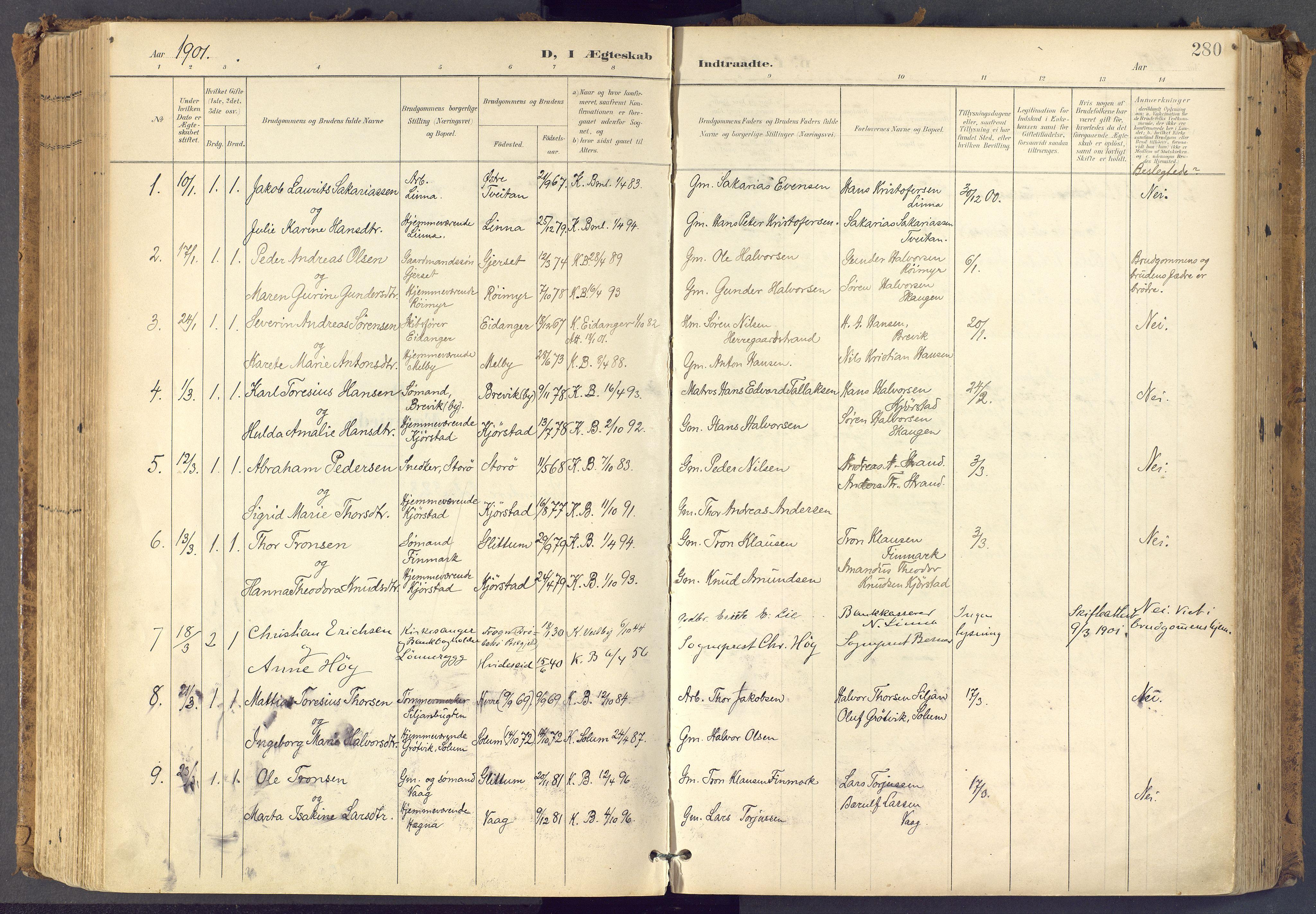 SAKO, Bamble kirkebøker, F/Fa/L0009: Ministerialbok nr. I 9, 1901-1917, s. 280