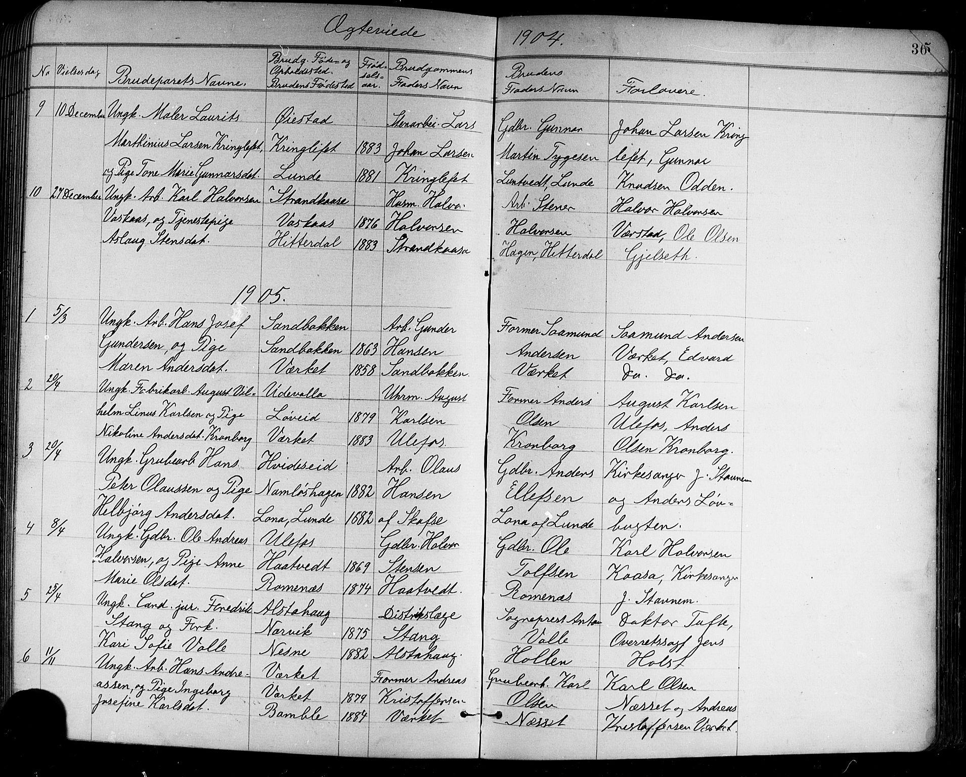 SAKO, Holla kirkebøker, G/Ga/L0005: Klokkerbok nr. I 5, 1891-1917, s. 364