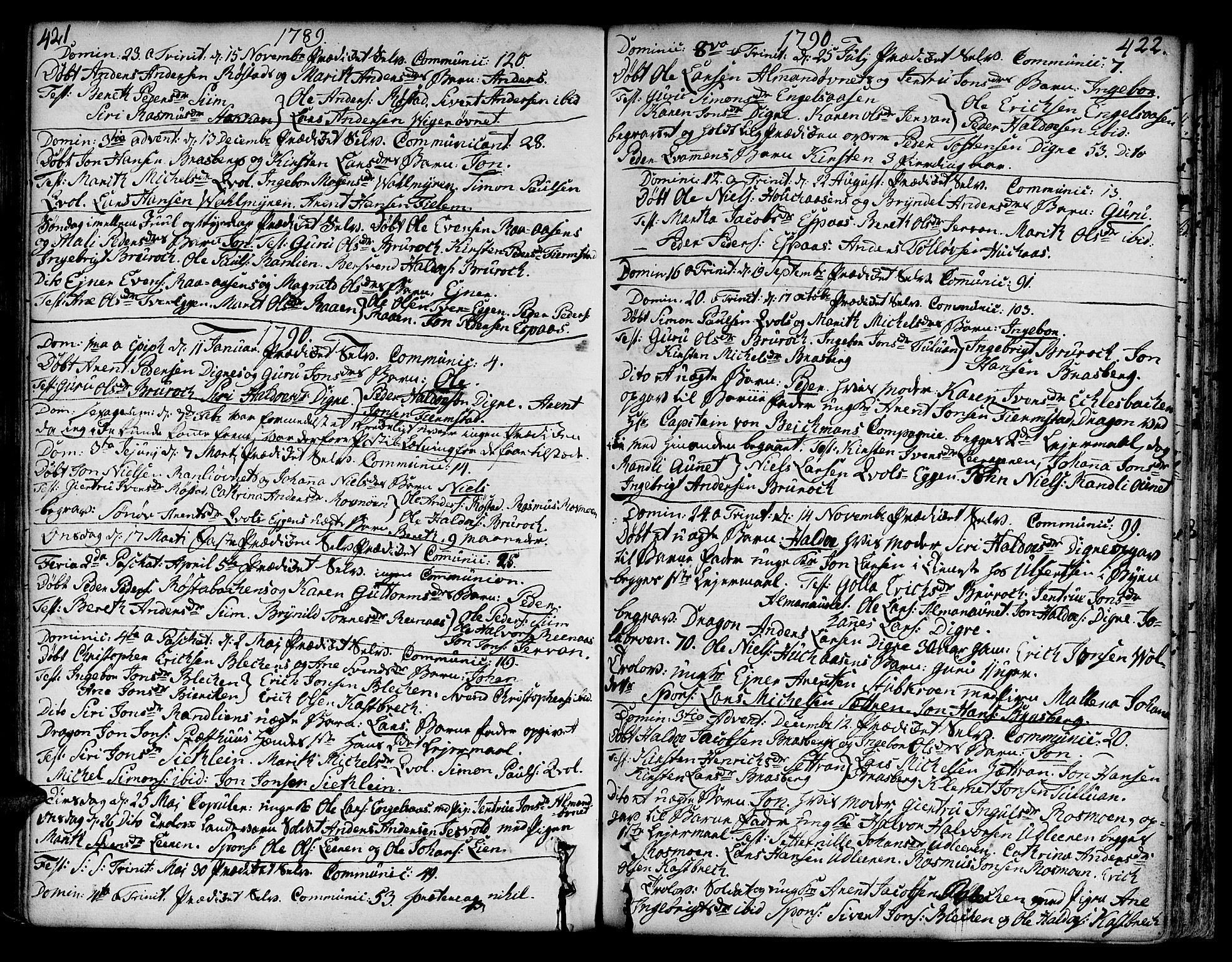 SAT, Ministerialprotokoller, klokkerbøker og fødselsregistre - Sør-Trøndelag, 606/L0282: Ministerialbok nr. 606A02 /3, 1781-1817, s. 421-422