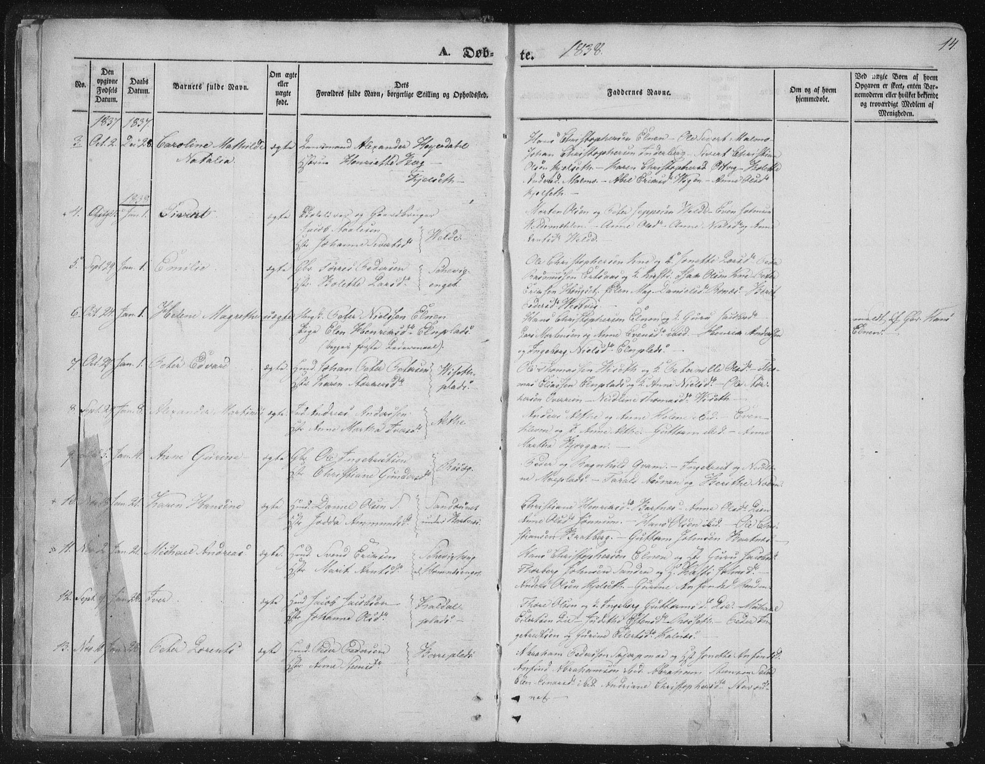 SAT, Ministerialprotokoller, klokkerbøker og fødselsregistre - Nord-Trøndelag, 741/L0392: Ministerialbok nr. 741A06, 1836-1848, s. 14