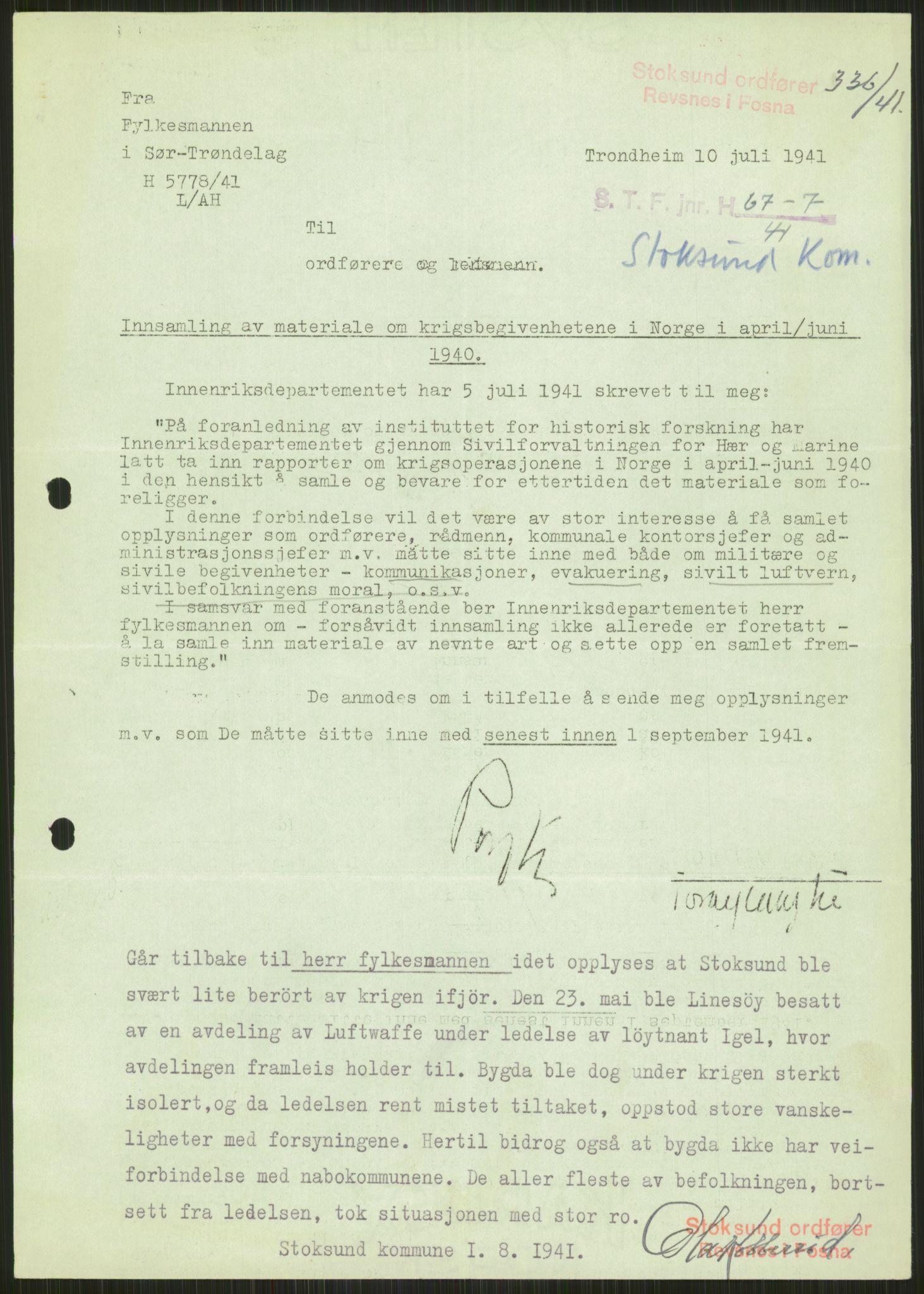 RA, Forsvaret, Forsvarets krigshistoriske avdeling, Y/Ya/L0016: II-C-11-31 - Fylkesmenn.  Rapporter om krigsbegivenhetene 1940., 1940, s. 15