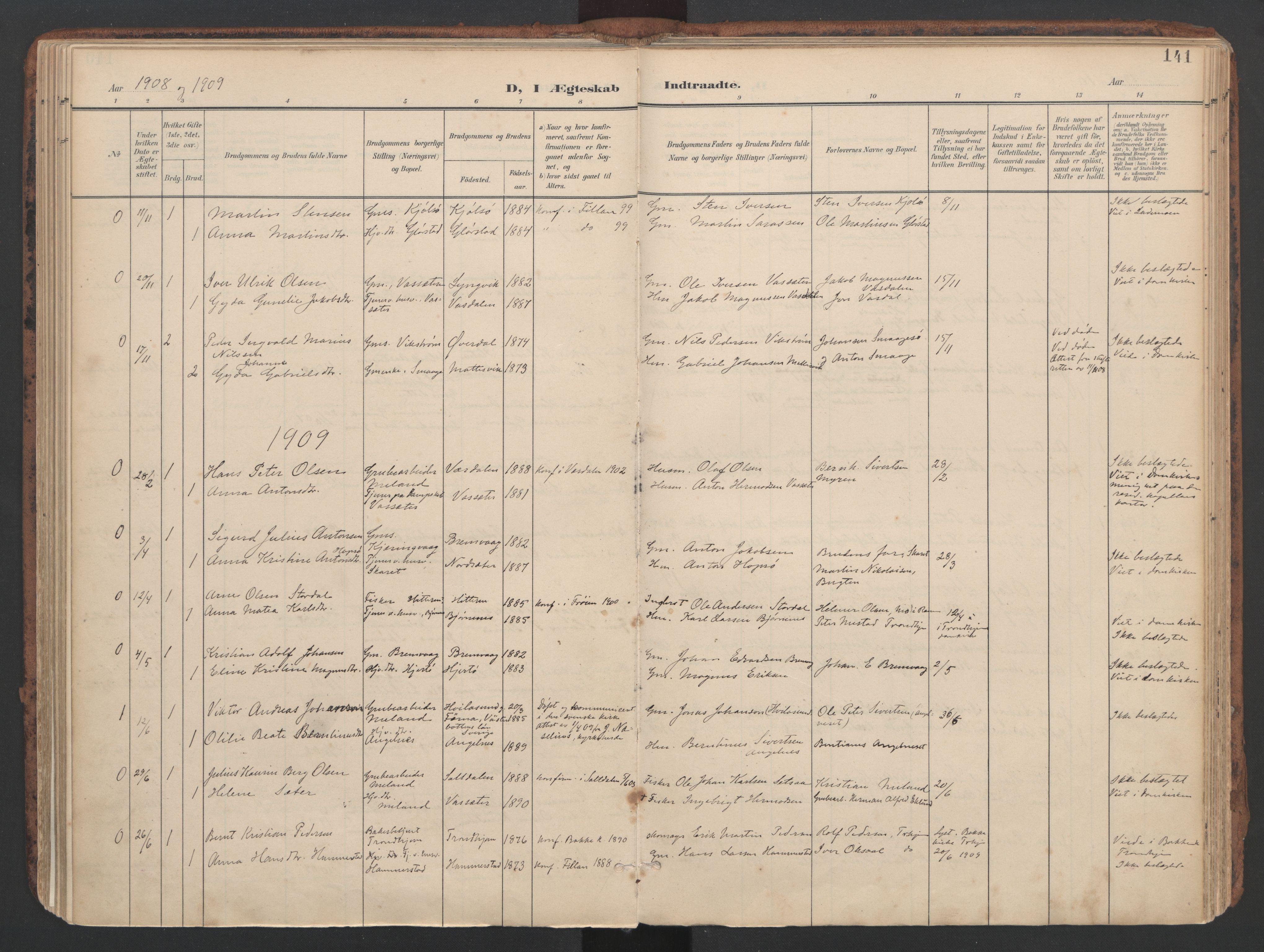 SAT, Ministerialprotokoller, klokkerbøker og fødselsregistre - Sør-Trøndelag, 634/L0537: Ministerialbok nr. 634A13, 1896-1922, s. 141