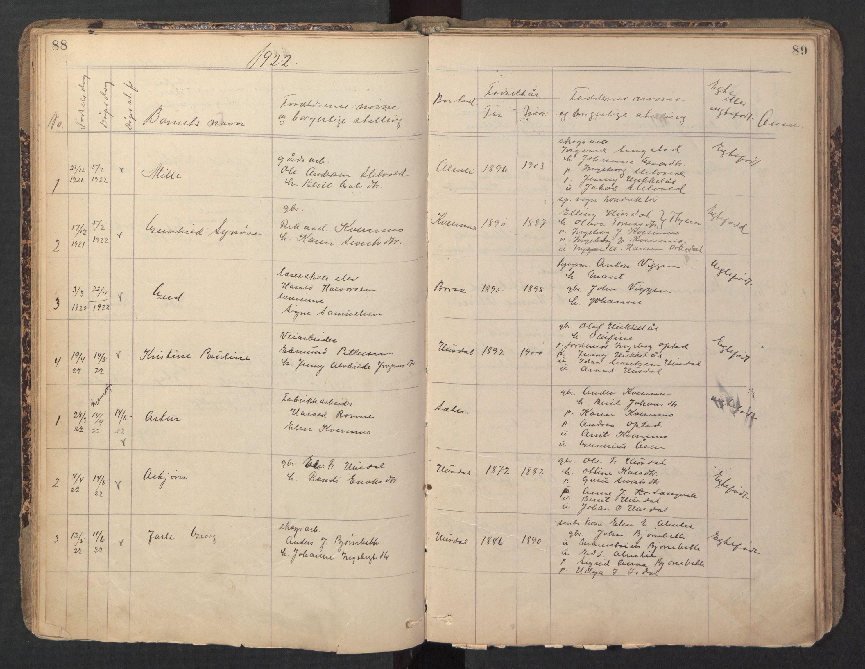 SAT, Ministerialprotokoller, klokkerbøker og fødselsregistre - Sør-Trøndelag, 670/L0837: Klokkerbok nr. 670C01, 1905-1946, s. 88-89