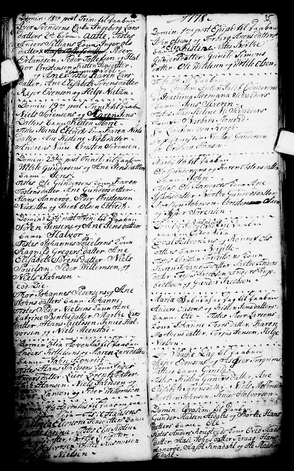 SAKO, Porsgrunn kirkebøker , G/Ga/L0001: Klokkerbok nr. I 1, 1766-1790, s. 34-35