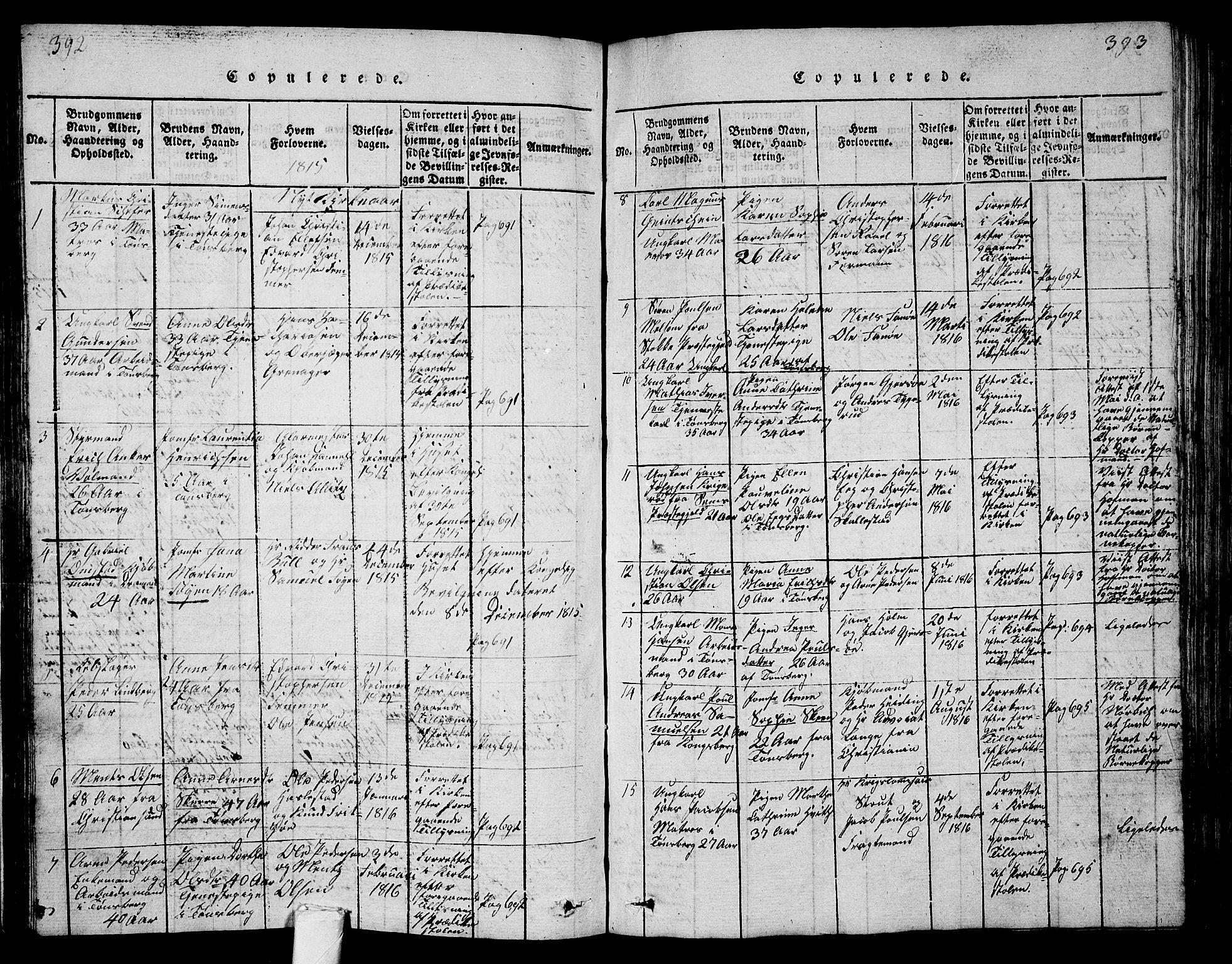 SAKO, Tønsberg kirkebøker, G/Ga/L0001: Klokkerbok nr. 1, 1813-1826, s. 392-393