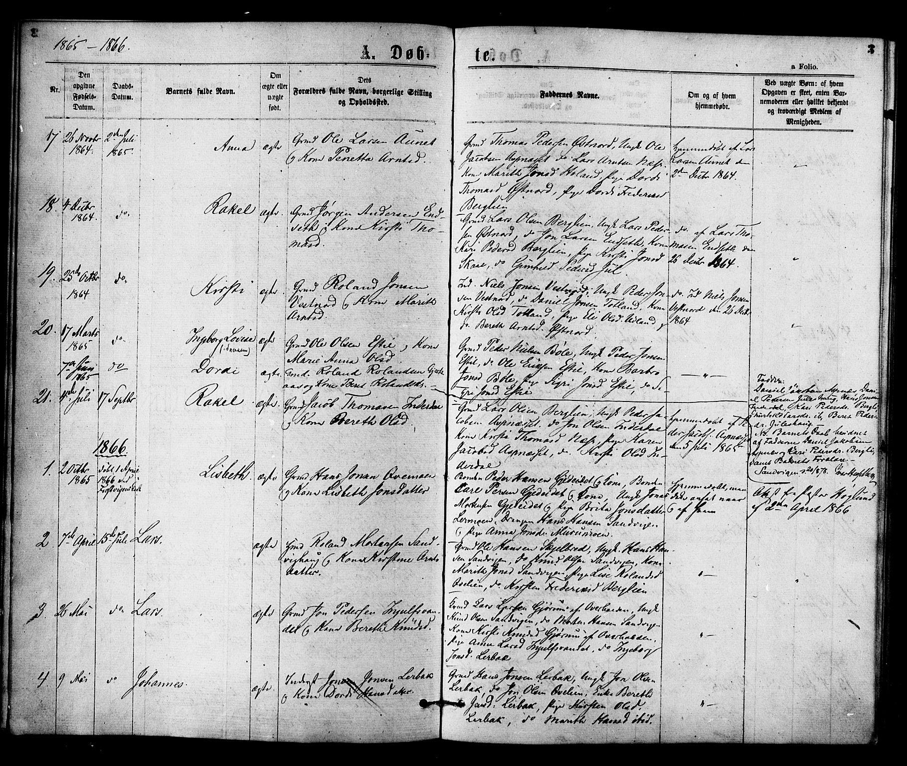 SAT, Ministerialprotokoller, klokkerbøker og fødselsregistre - Nord-Trøndelag, 755/L0493: Ministerialbok nr. 755A02, 1865-1881, s. 3