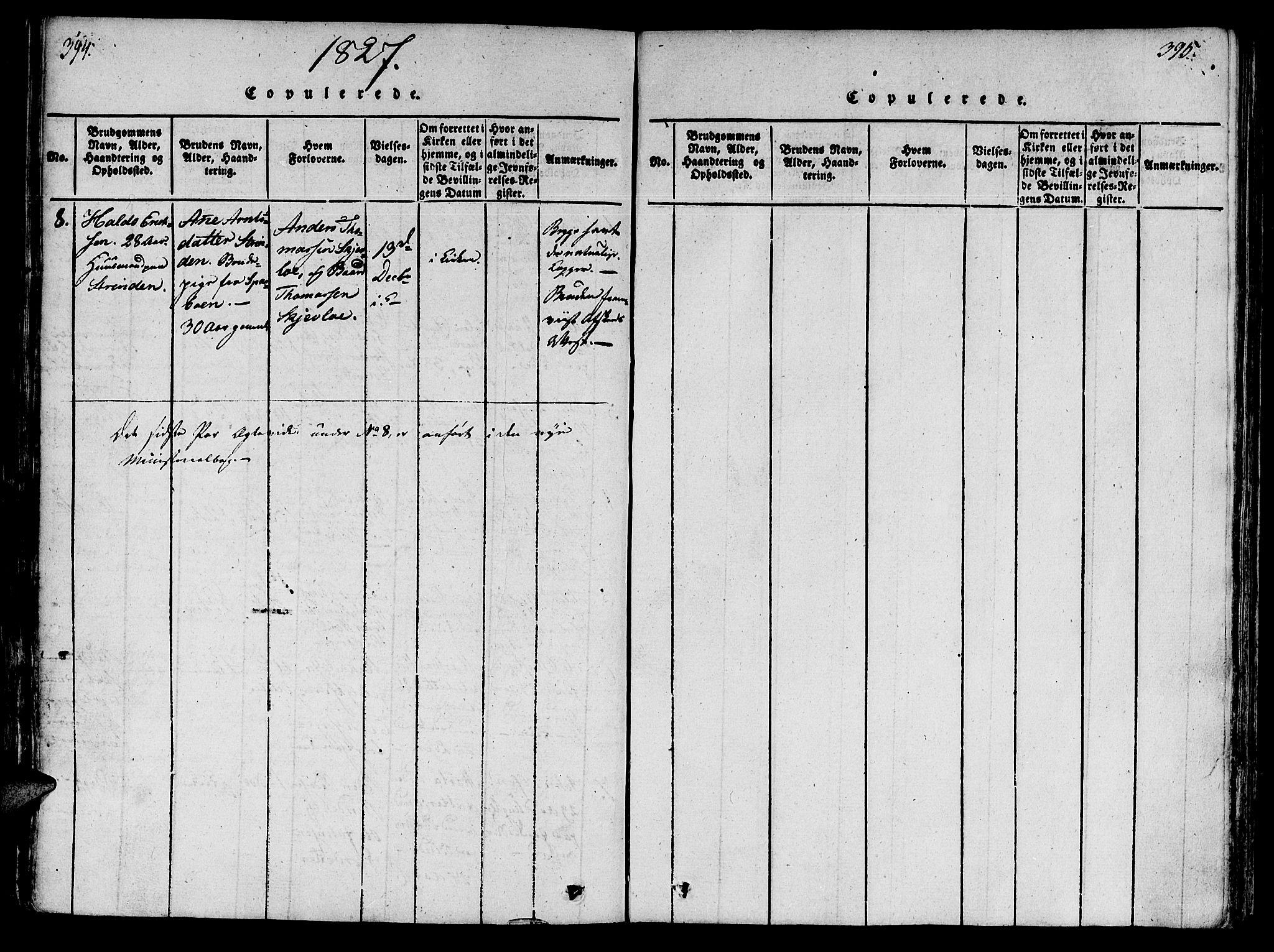 SAT, Ministerialprotokoller, klokkerbøker og fødselsregistre - Nord-Trøndelag, 746/L0441: Ministerialbok nr. 746A03 /1, 1816-1827, s. 394-395