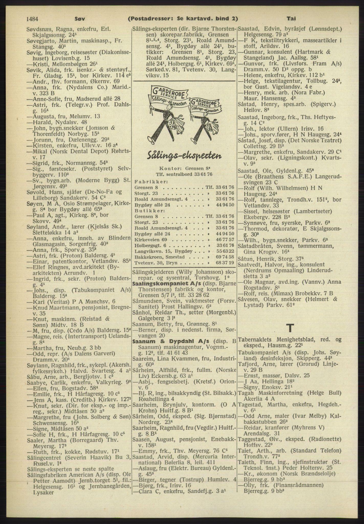 RA, Oslo adressebok (publikasjon)*, 1960-1961, s. 1484