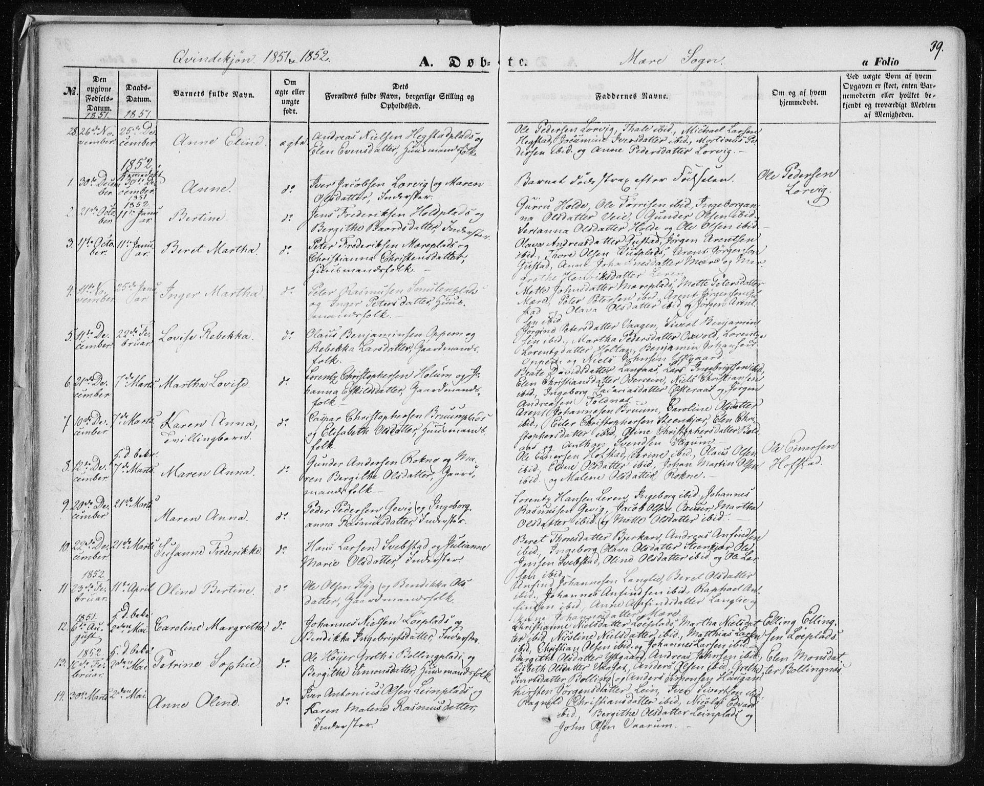 SAT, Ministerialprotokoller, klokkerbøker og fødselsregistre - Nord-Trøndelag, 735/L0342: Ministerialbok nr. 735A07 /1, 1849-1862, s. 39