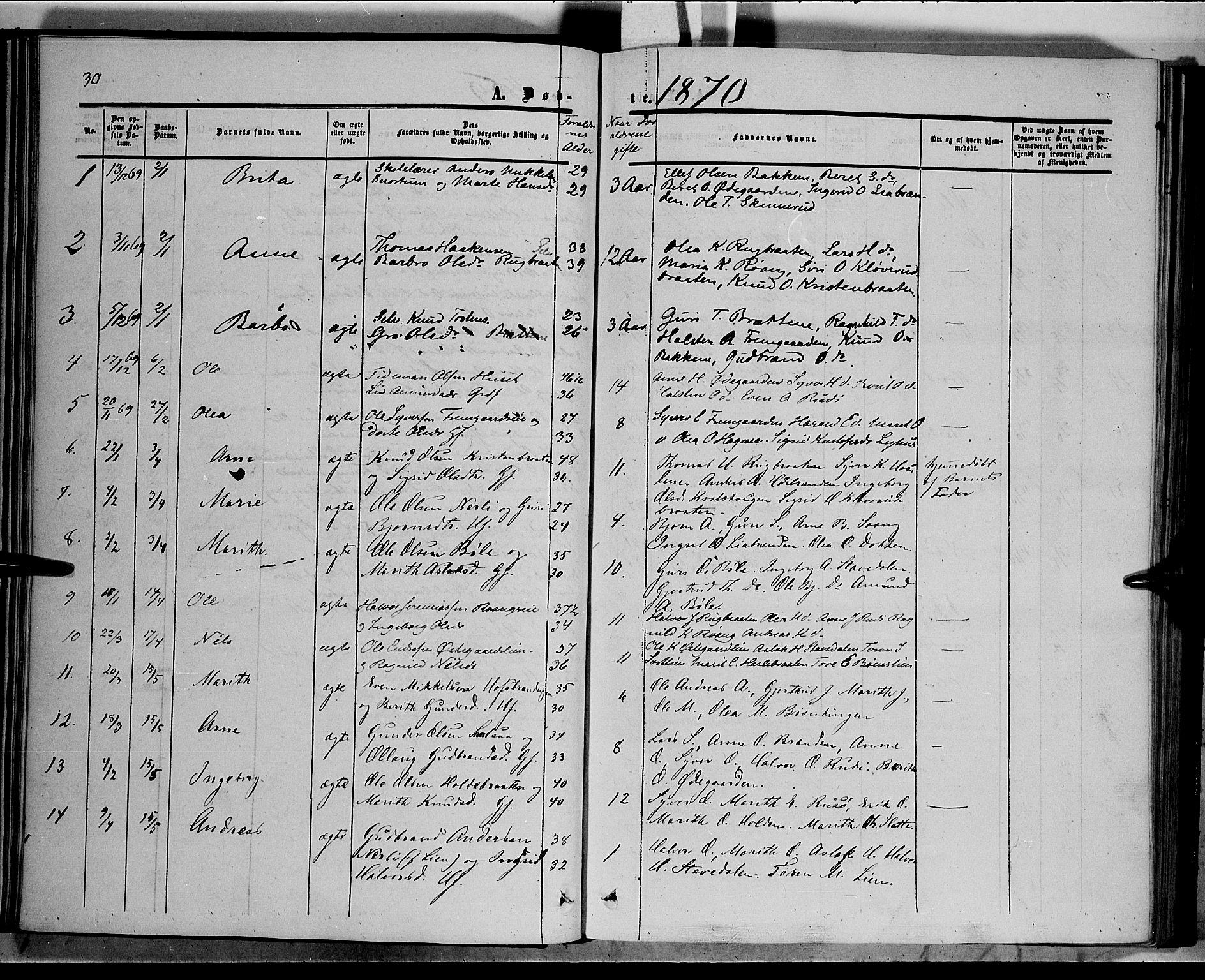 SAH, Sør-Aurdal prestekontor, Ministerialbok nr. 6, 1849-1876, s. 30